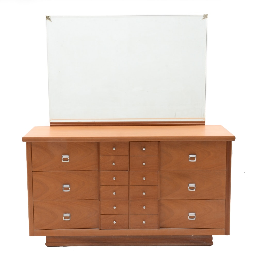 Mid Century Modern Low Chest of Drawers with Mirror