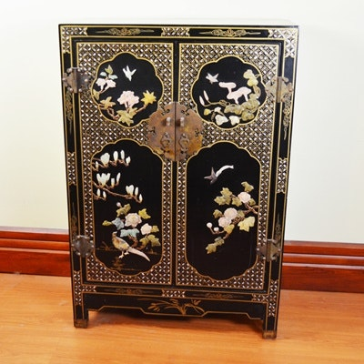 Asian Black Lacquer Cabinet With Stone Detailing