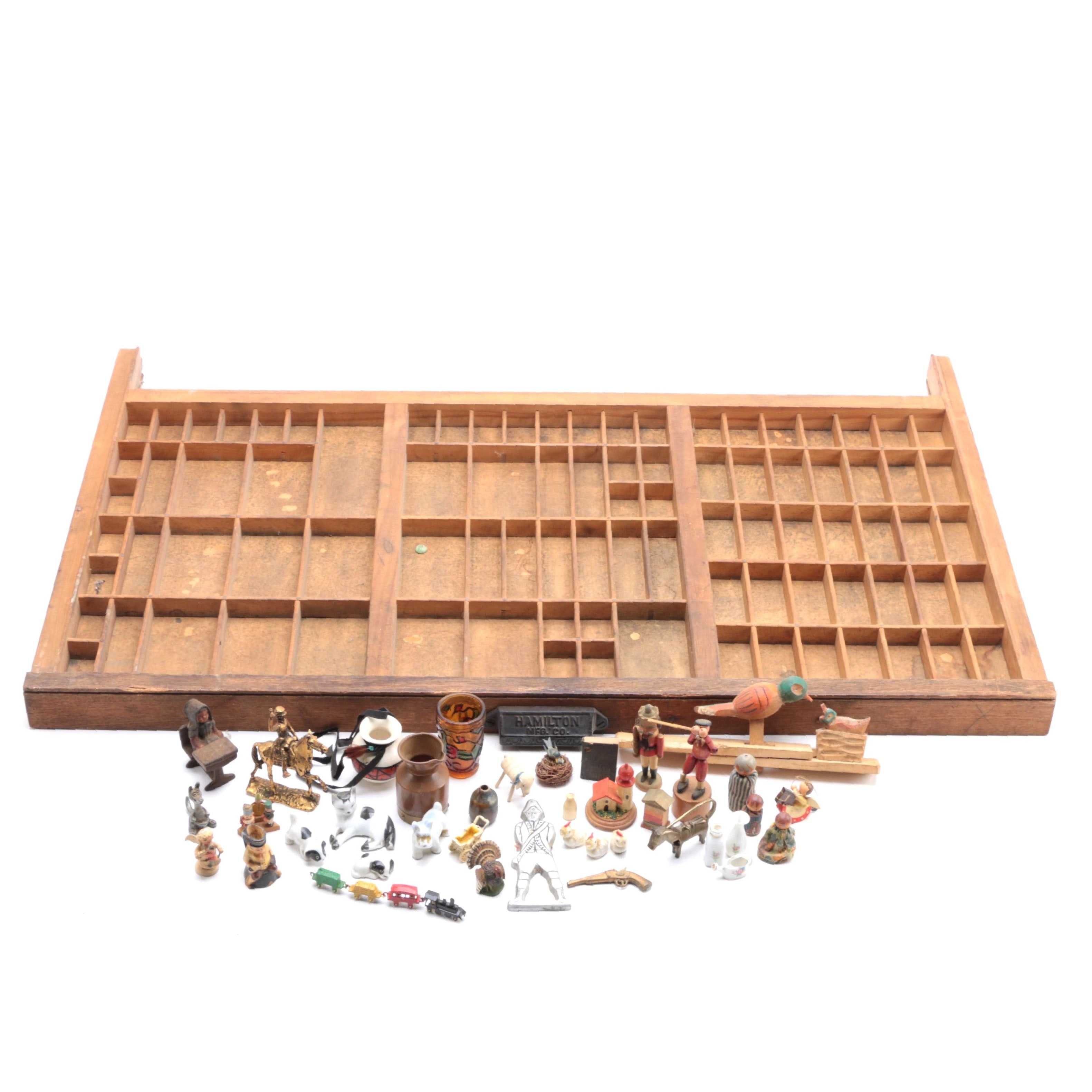 Hamilton Wooden Printer's Tray with Figurines and Other Decor