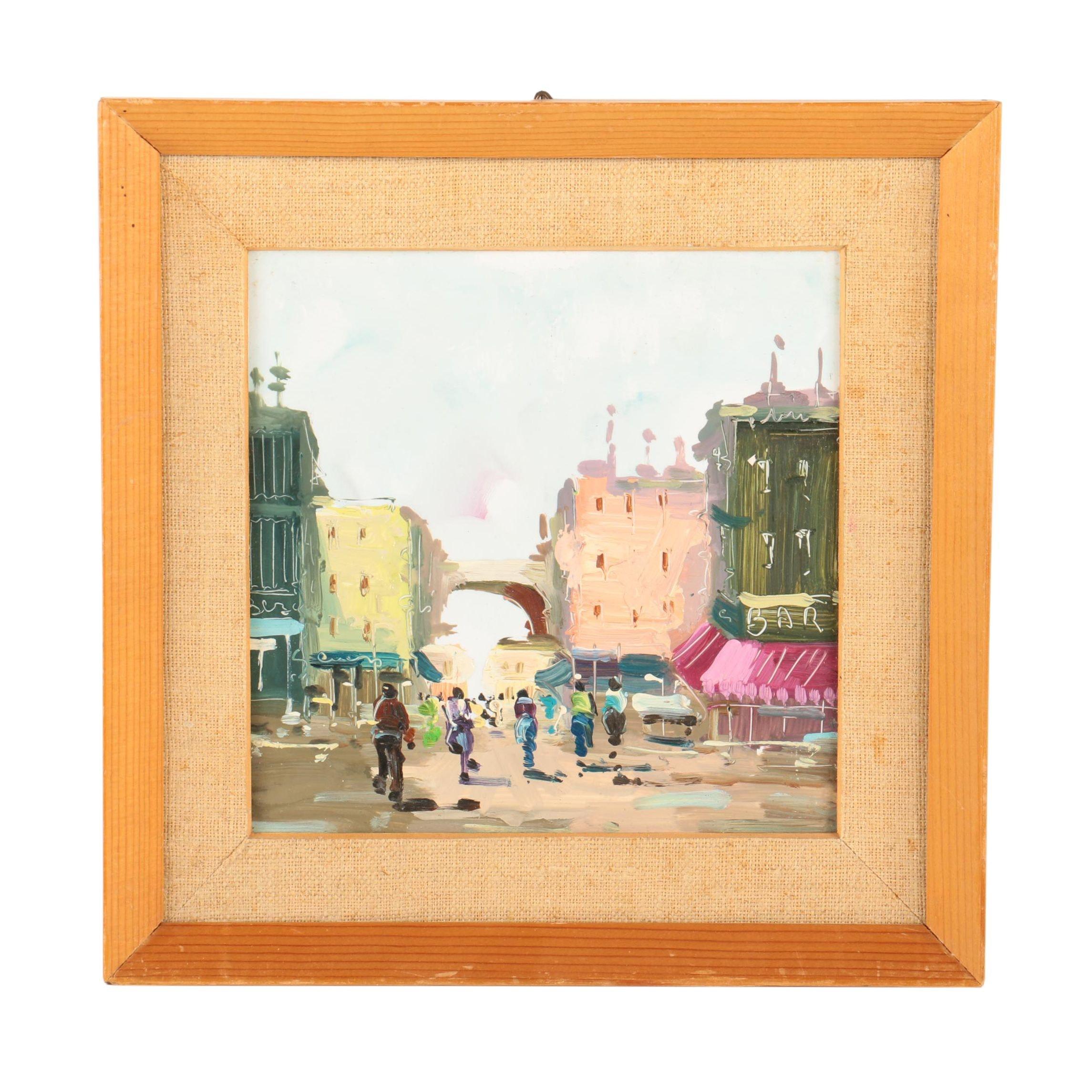 Oil on Masonite Painting of a Street Scene