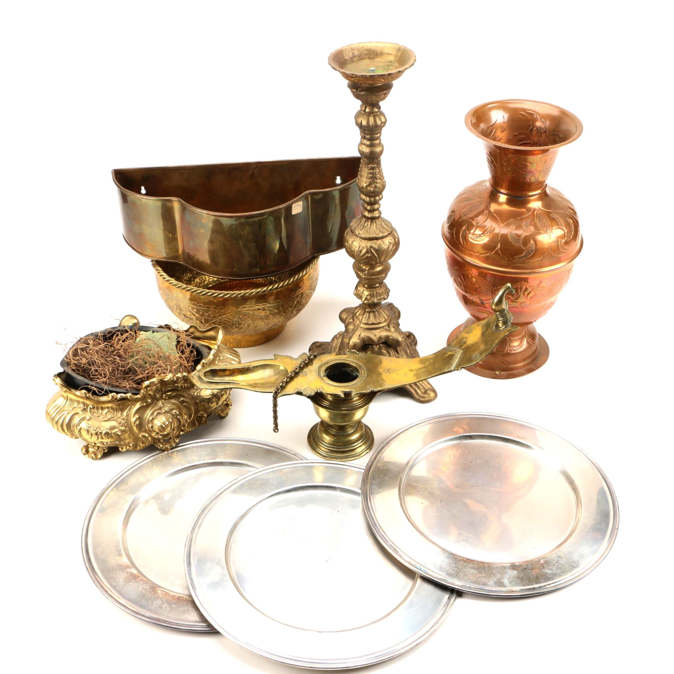 Assortment of Metal Servingware and Décor