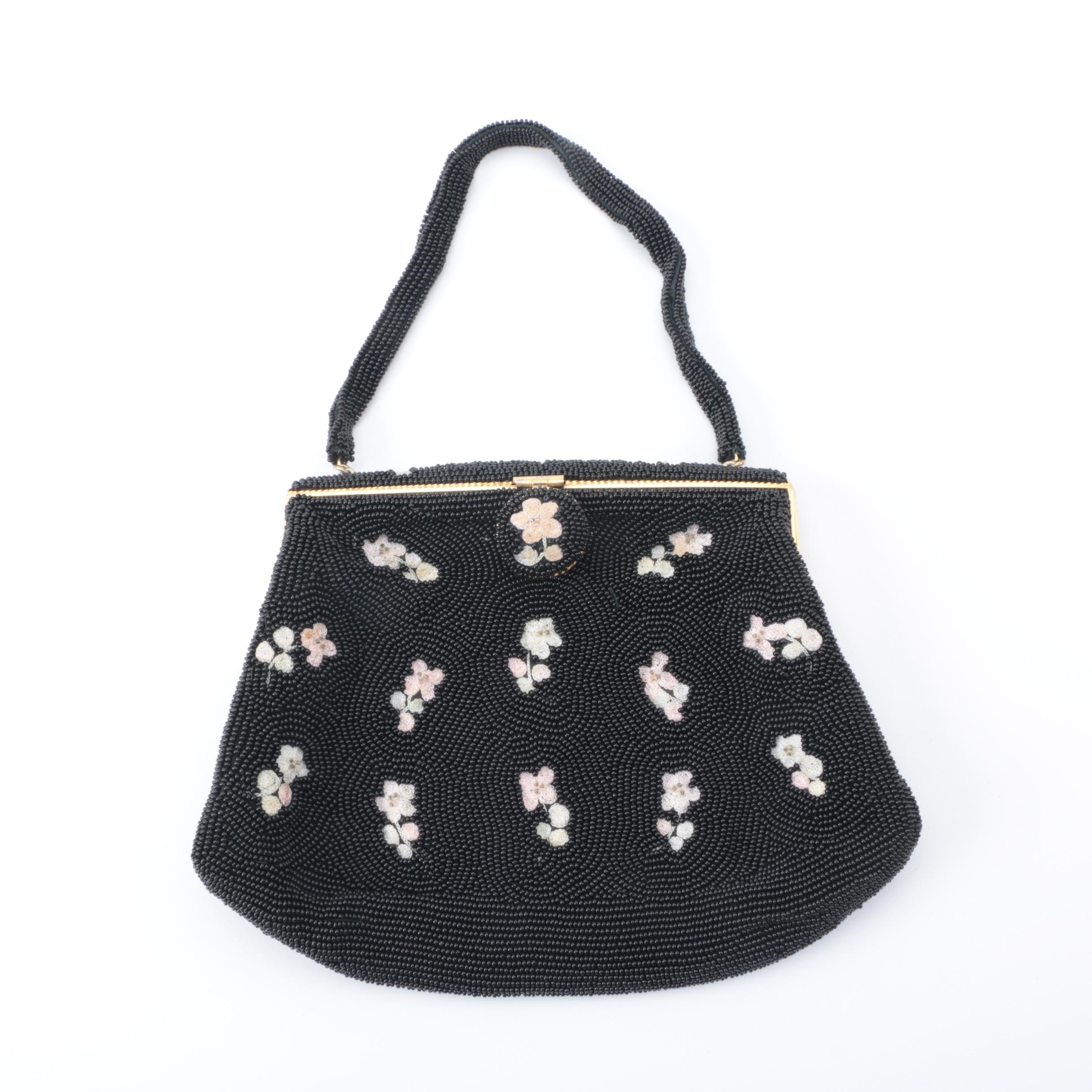 Vintage Hand Beaded Floral Purse