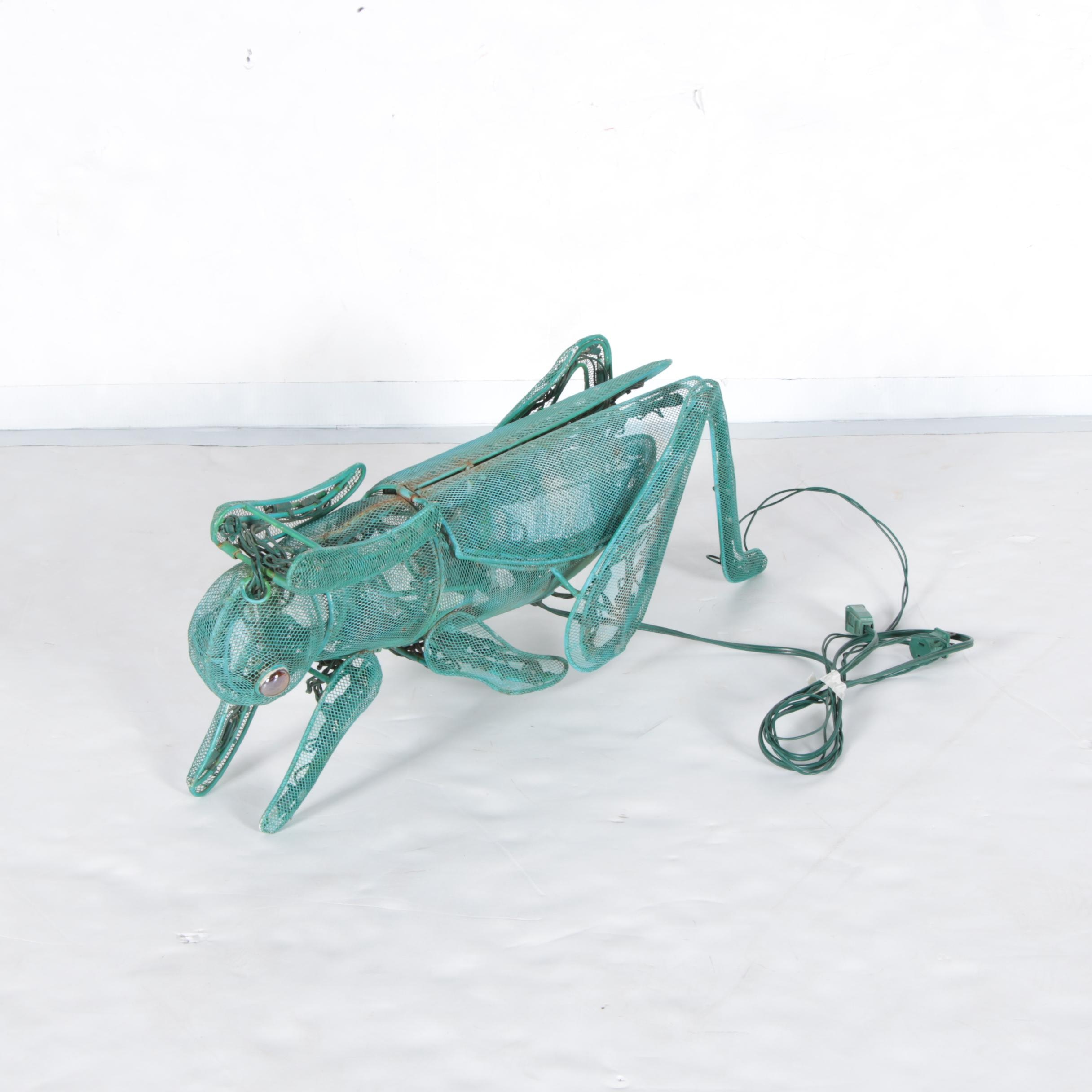 Large Lighted Metal Grasshopper