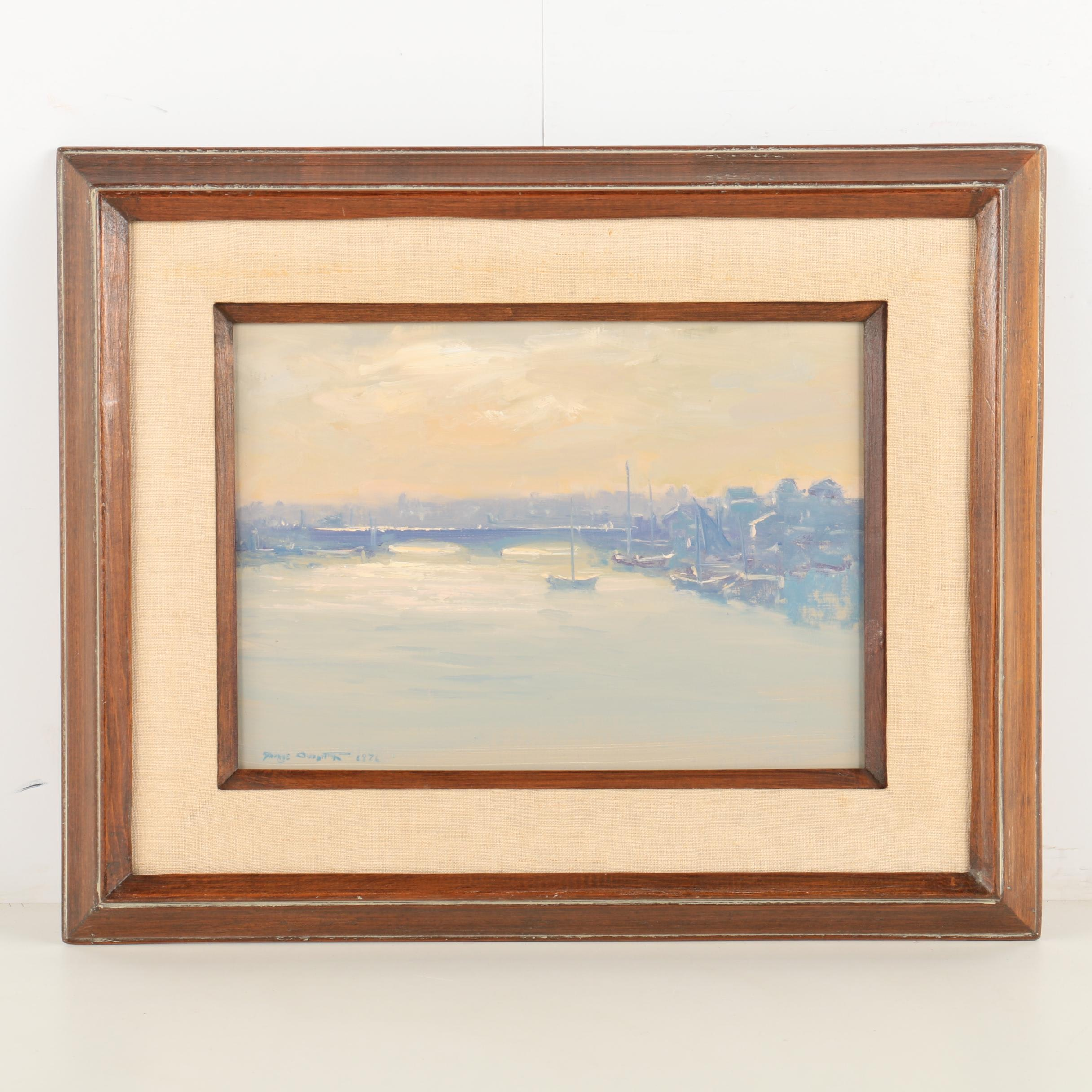 George Carpenter 1970s Oil Painting on Board of Foggy New England Harbor