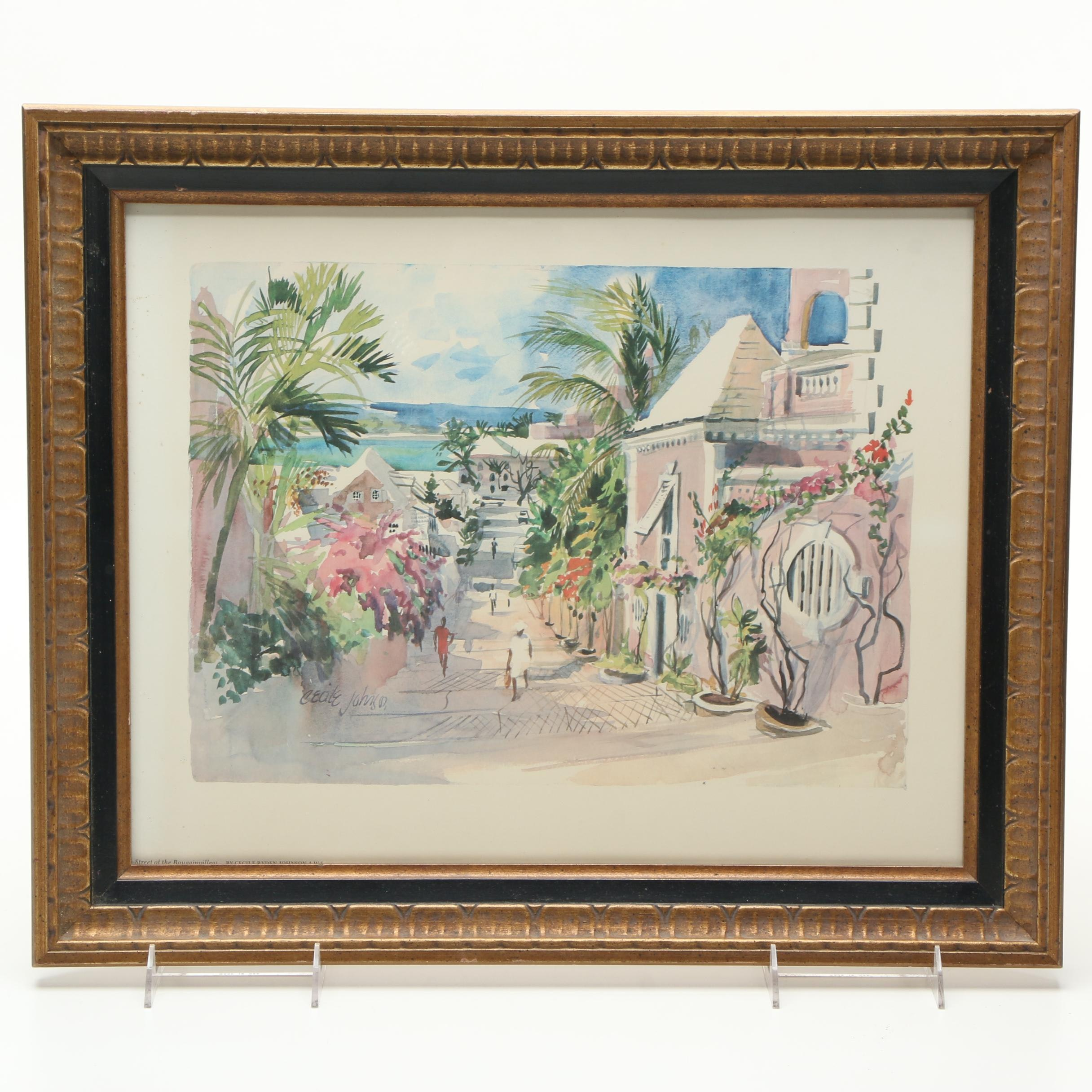 """Offset Lithograph After Cecile Johnson's """"Street of the Bougainvilleas"""""""