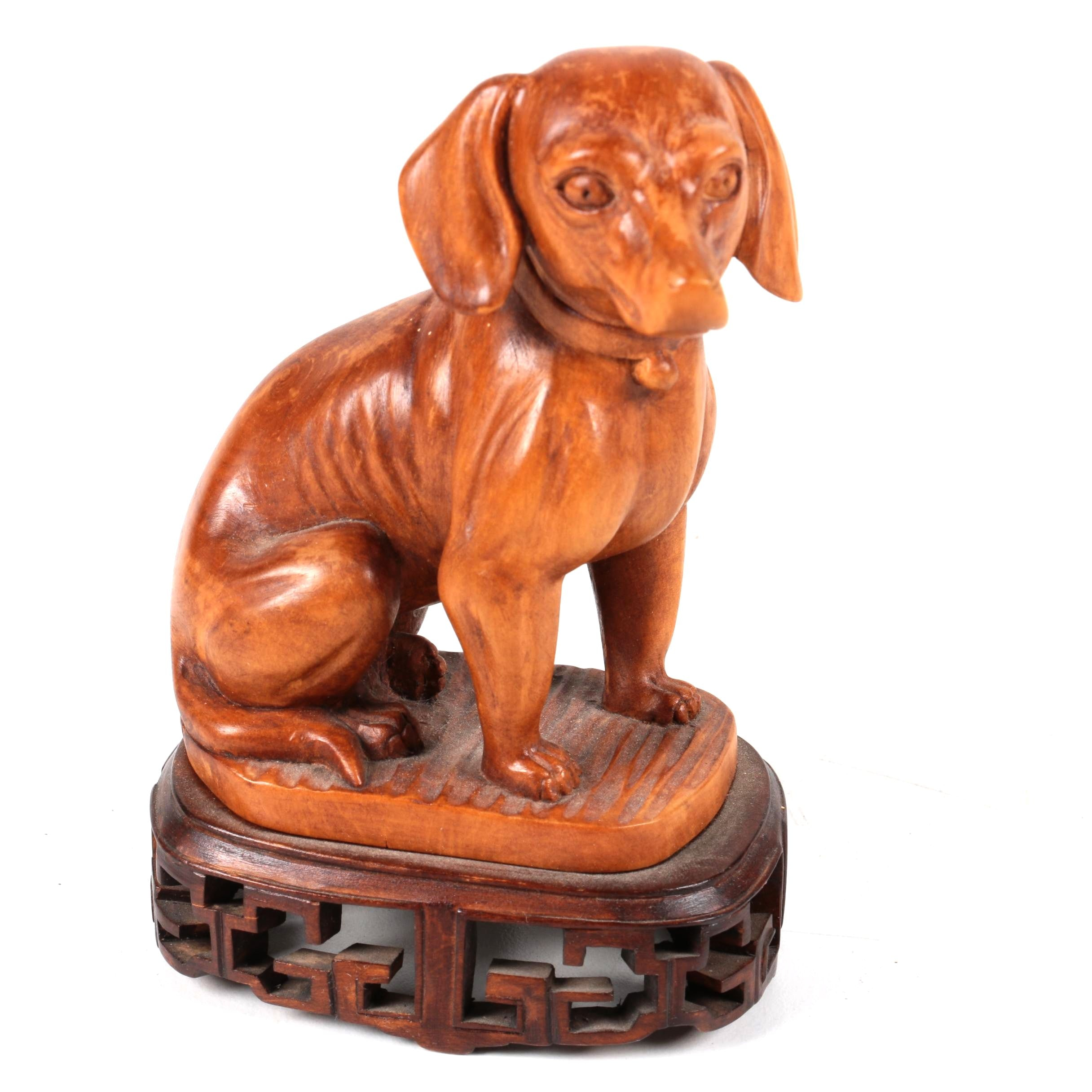 Wooden Dog Figurine with Stand