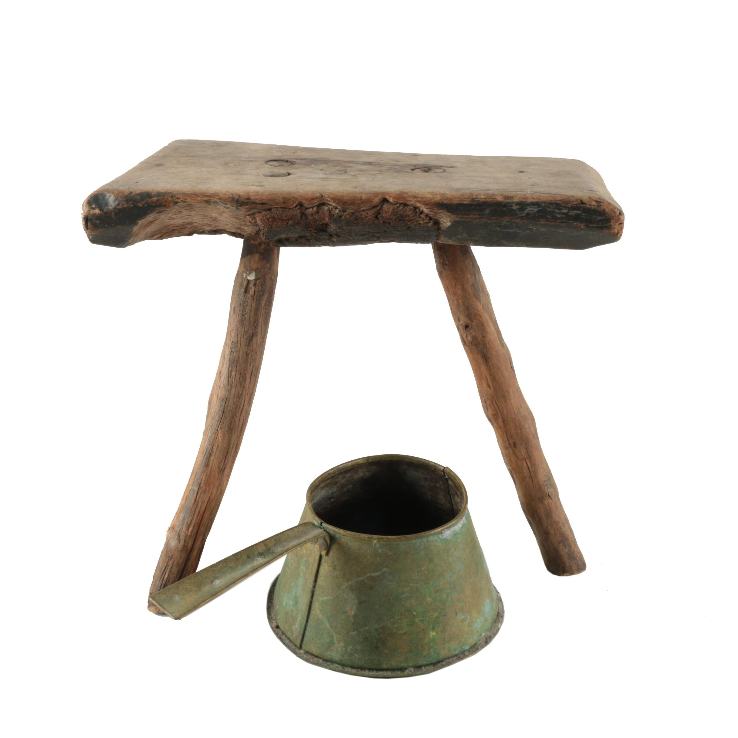 Primitive Style Milking Stool with Handled Milk Pan