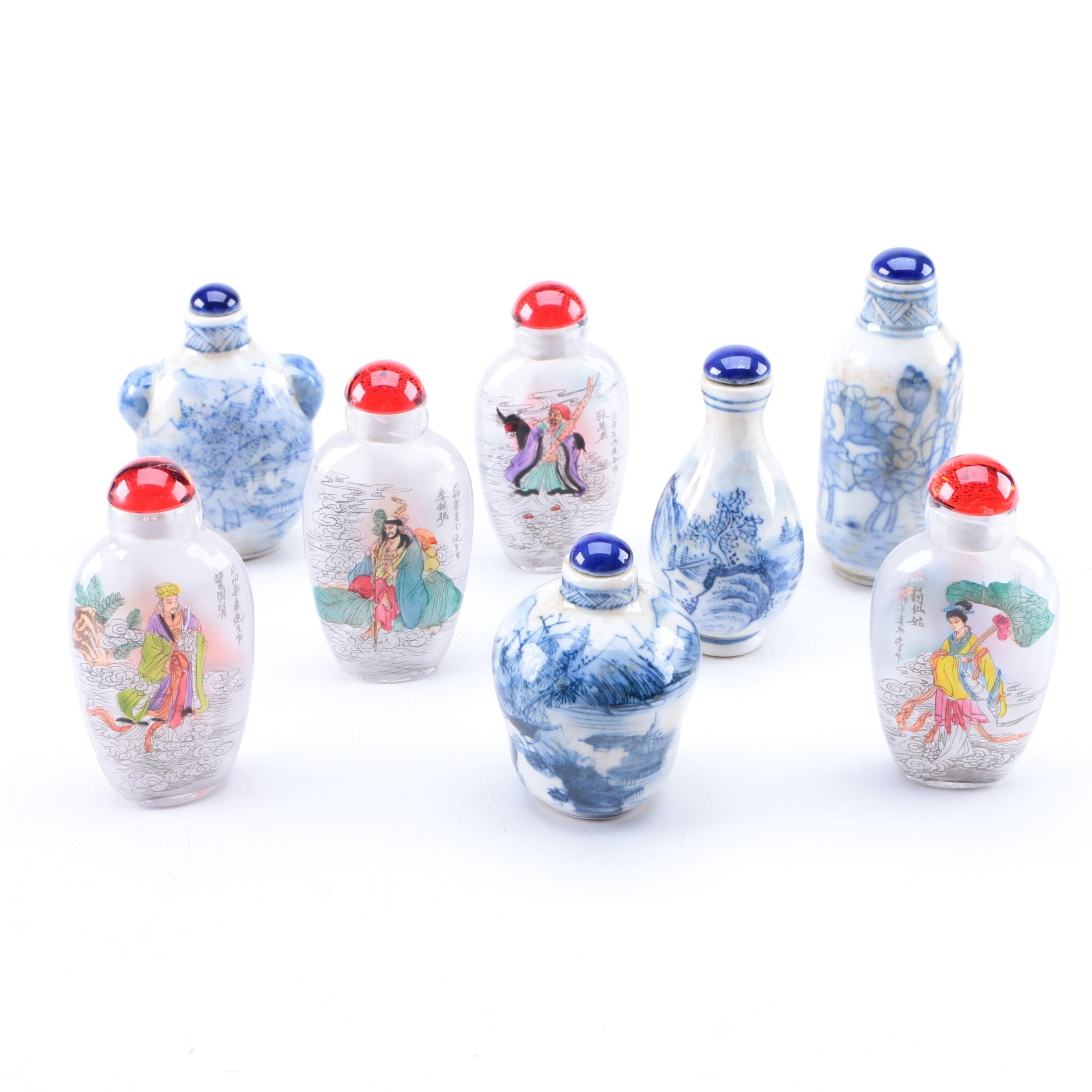 Collection of Glass and Porcelain Chinese Snuff Bottles