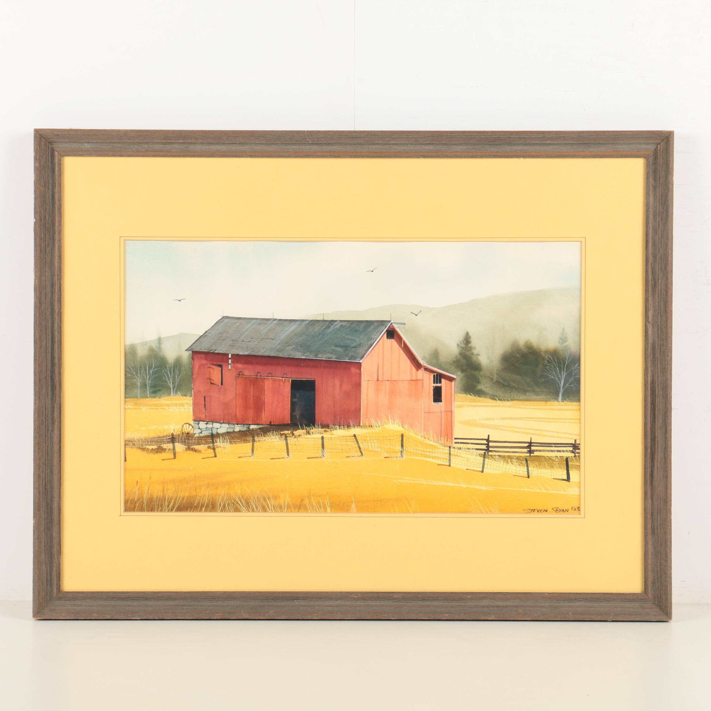 Steven Cryan Watercolor on Paper of Red Barn
