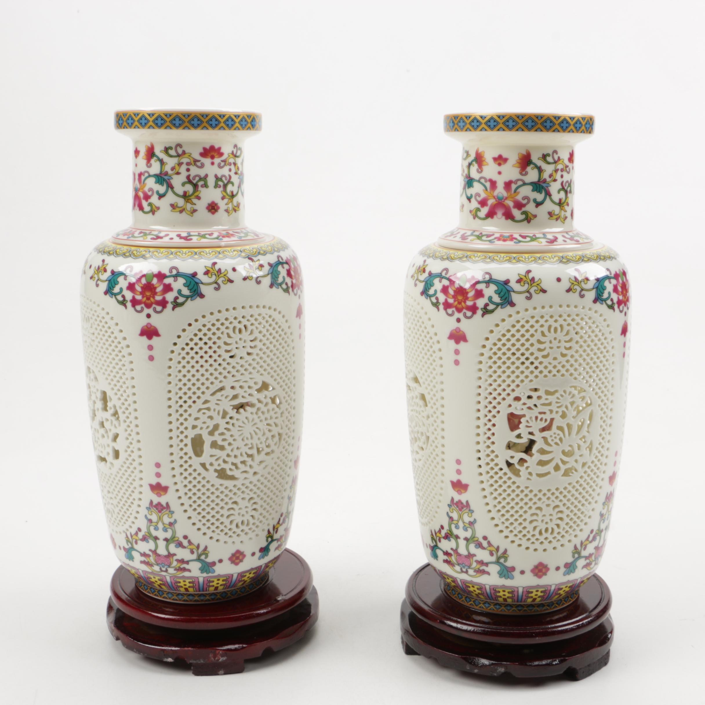 Two Porcelain Vases with Wooden Stands