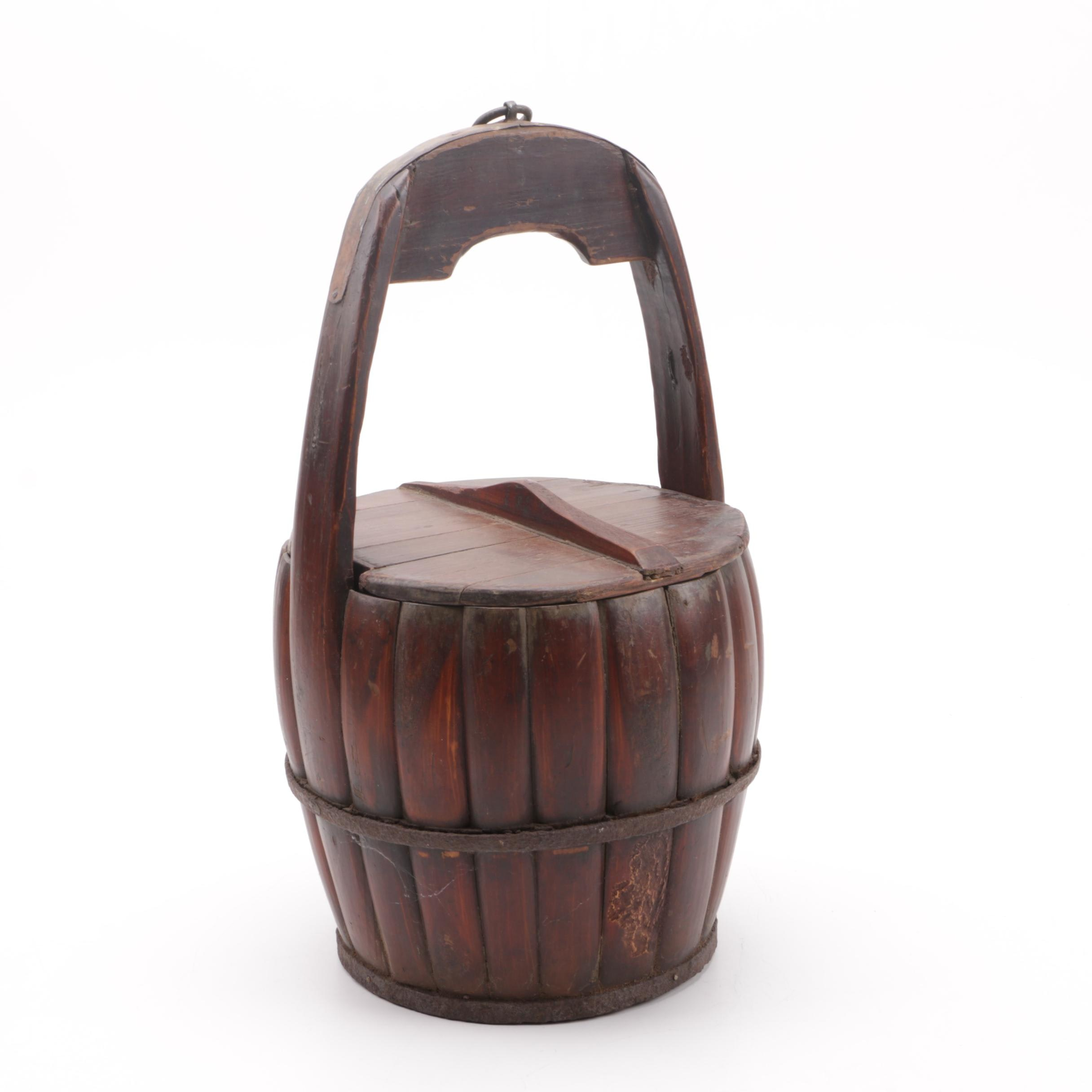 Vintage Barrel Shaped Wood Basket