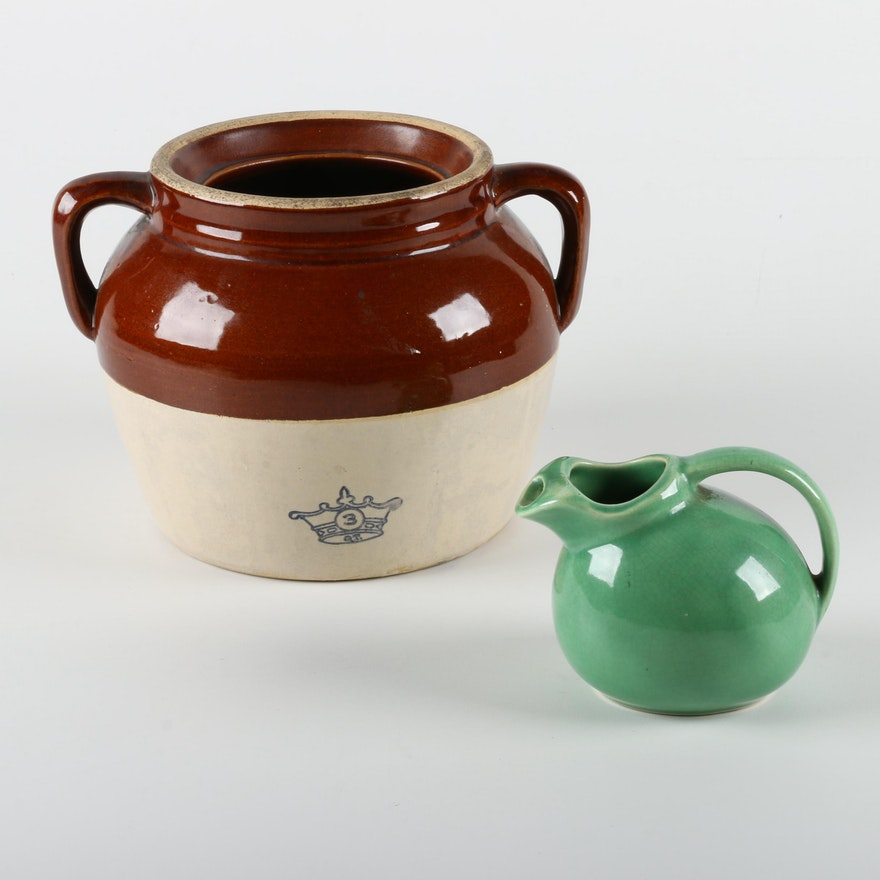 Crown Pottery Three Gallon Stoneware Crock And Jade Green