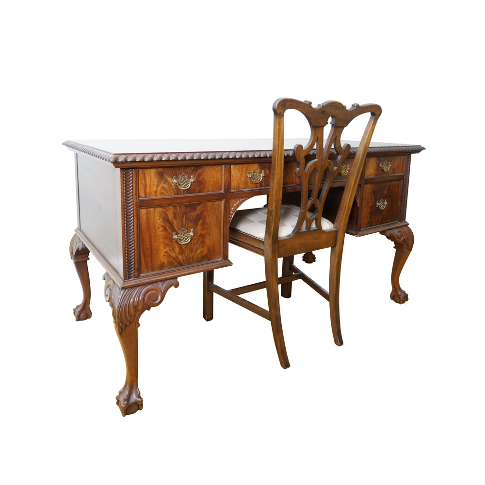 Vintage Mahogany Chippendale Style Desk and Chair by Flint and Horner Company