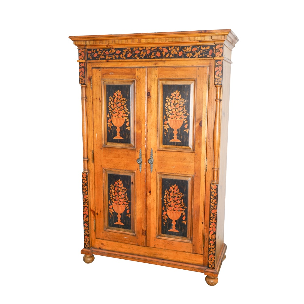 Painted Knotty-Pine Wardrobe by Drexel Heritage