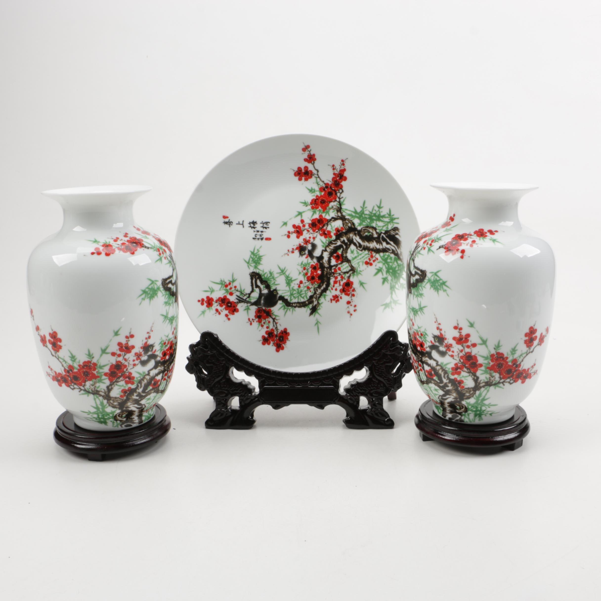 Chinese Ceramic Vases and Matching Dish