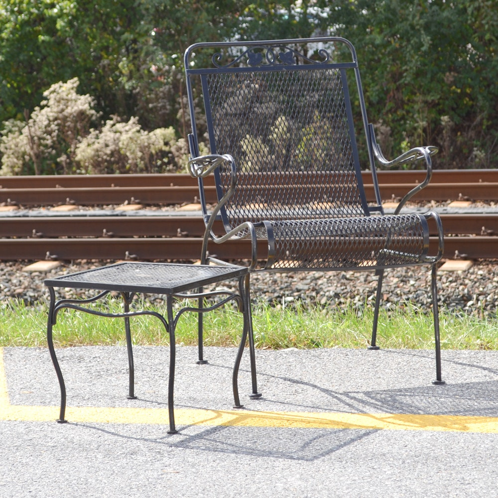 Wrought Iron Chair and End Table