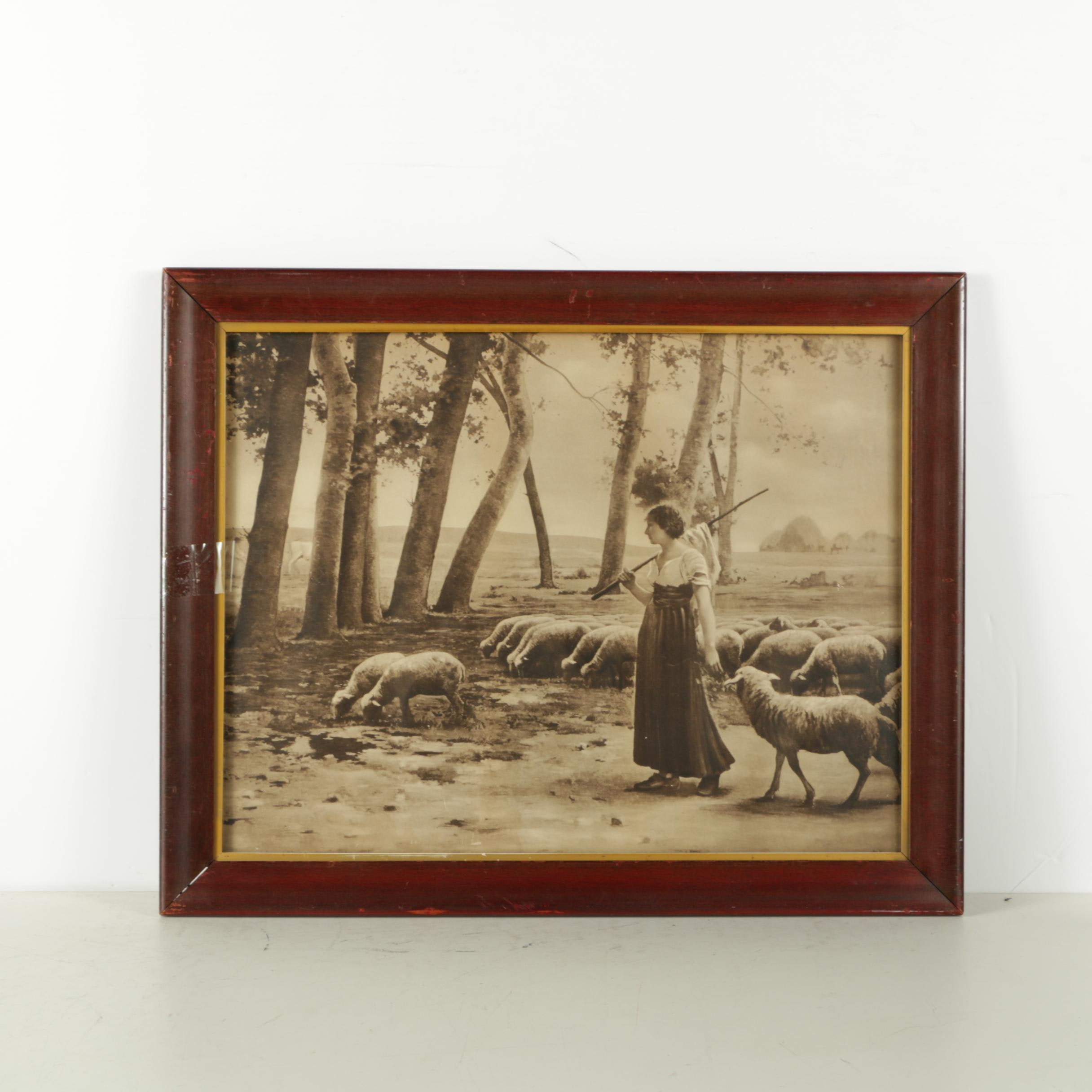 "Photogravure After ""La Gardienne de Moutons"" by Henry Lerolle, 1897"
