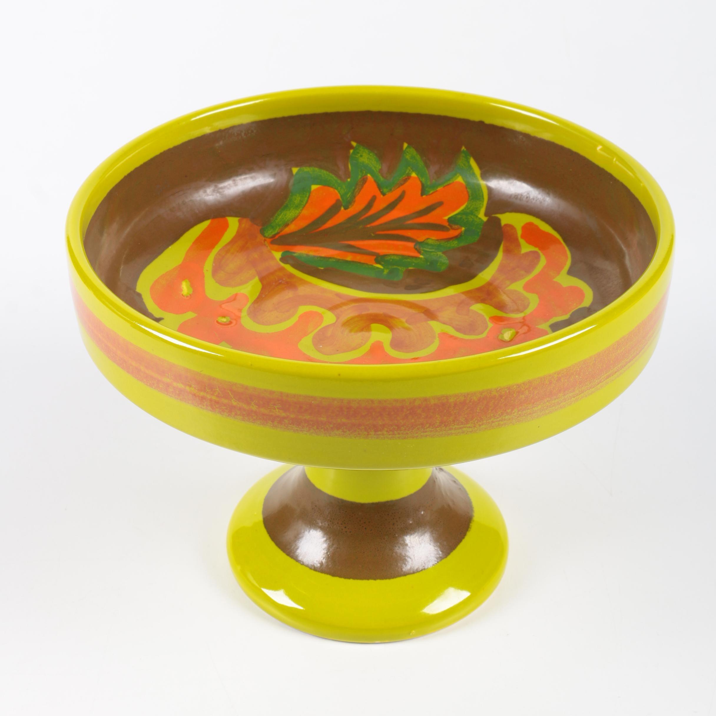 Mid-Century Ceramic Pedestal Bowl