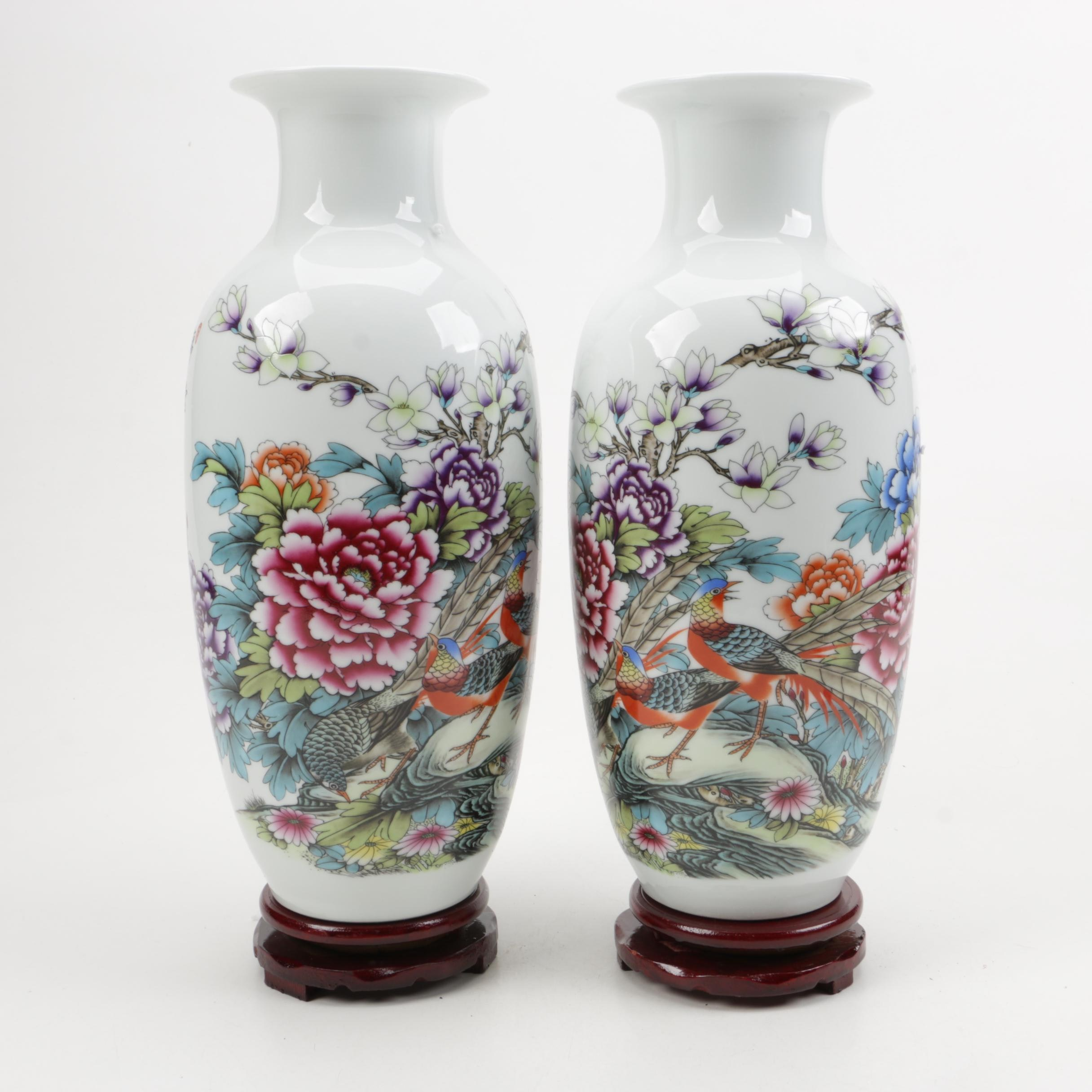 Pair of Porcelain Vases with Wood Plinth