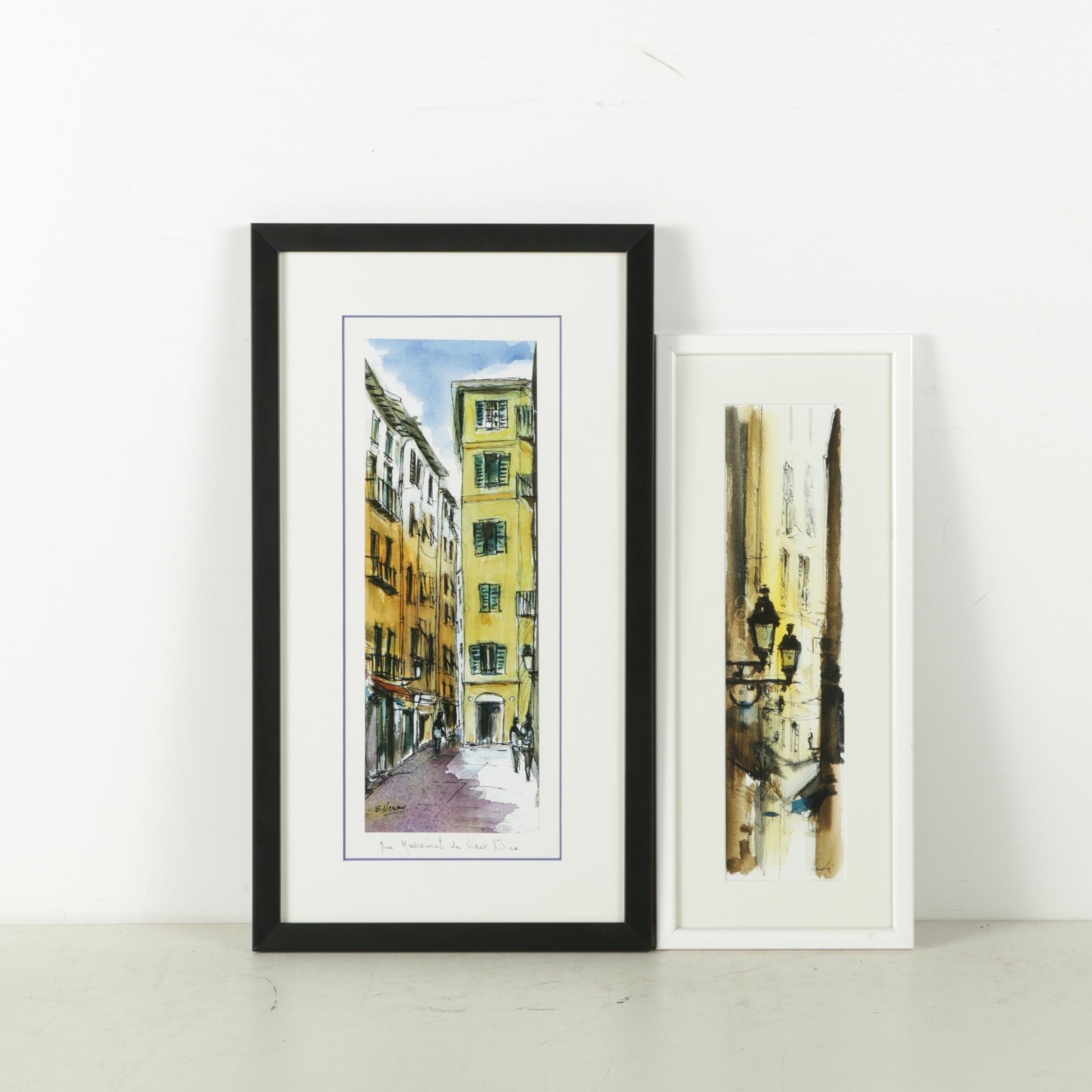 An Offset Lithograph and a Giclee of European Street Scenes