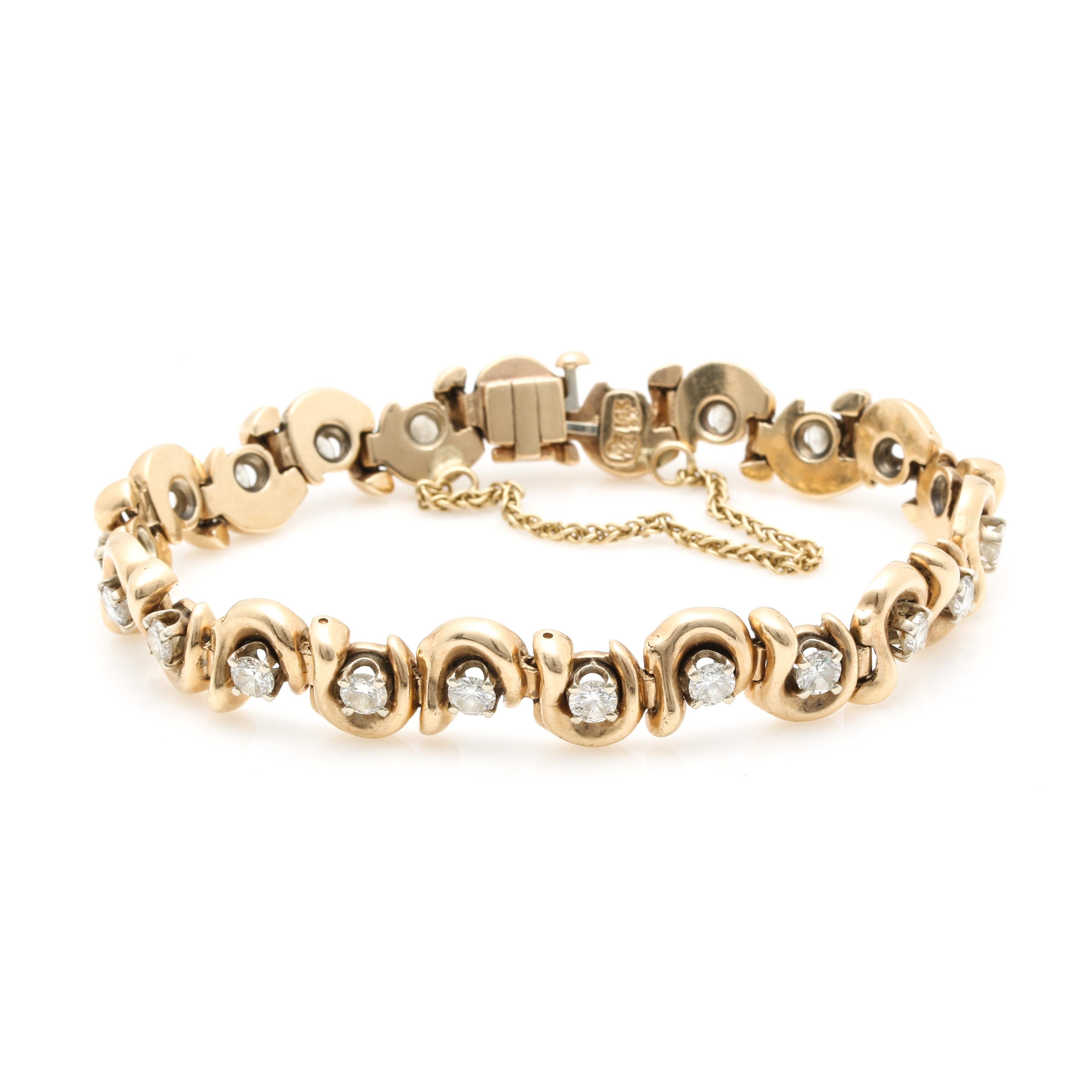 14K Yellow Gold 3.55 CTW Diamond Tennis Bracelet