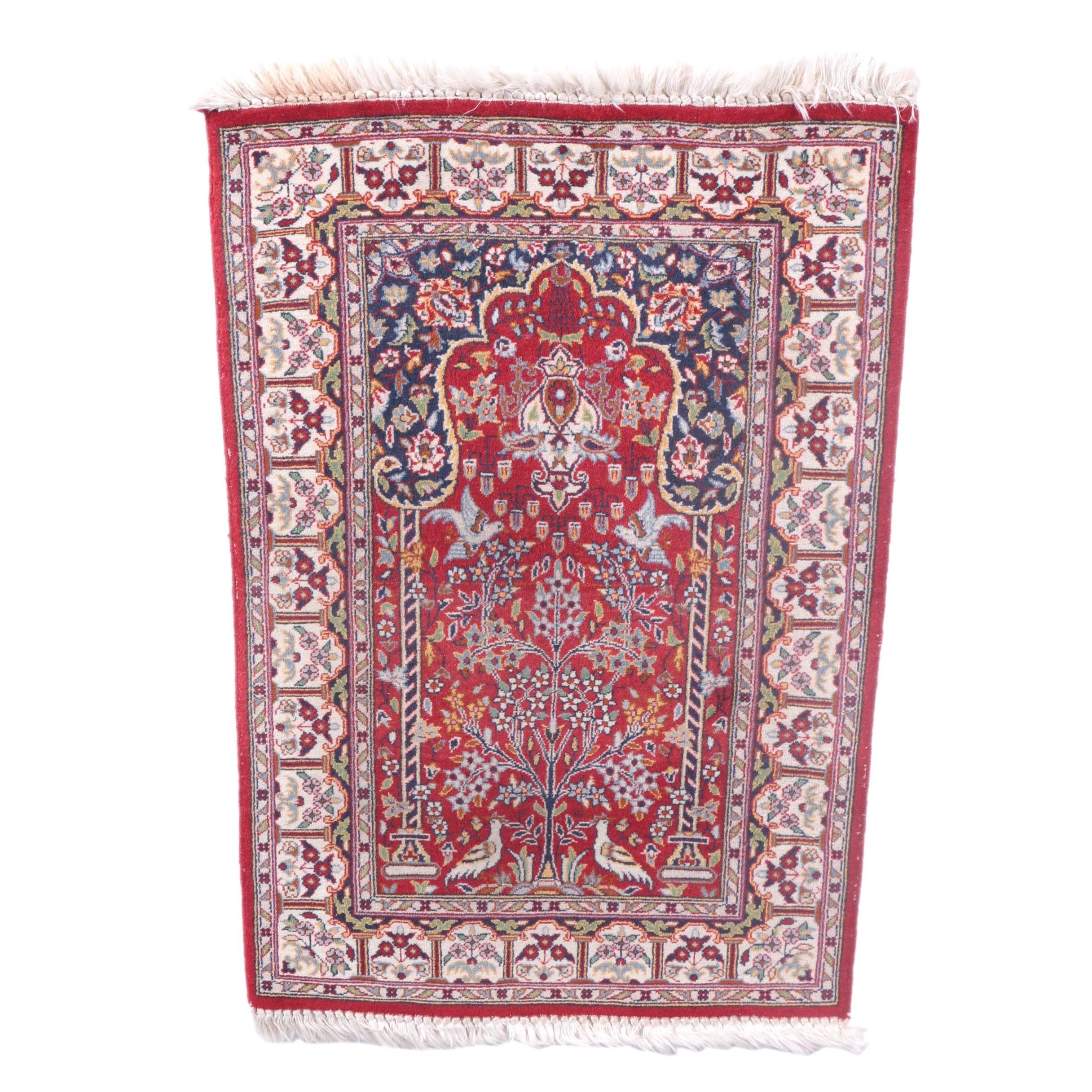 Hand-Knotted Kashan Wool Prayer Rug