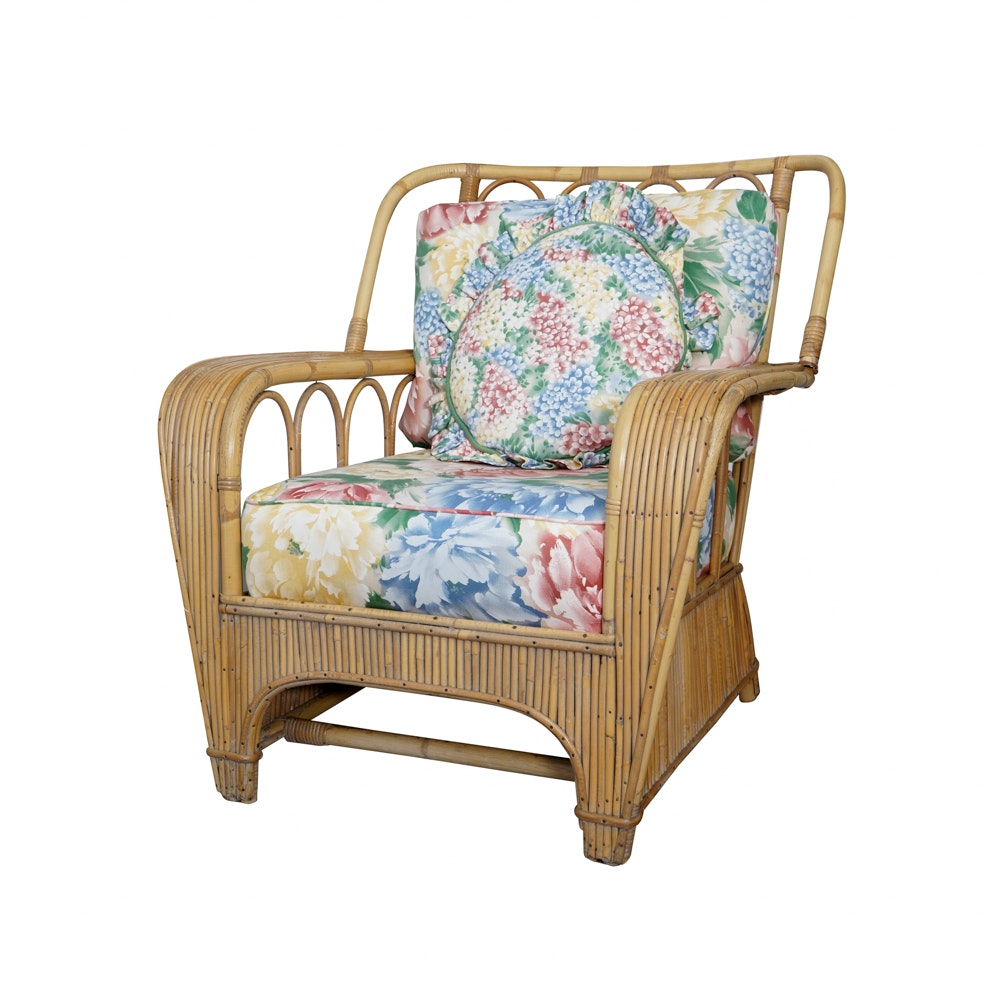 Vintage Rattan Armchair with Cushions