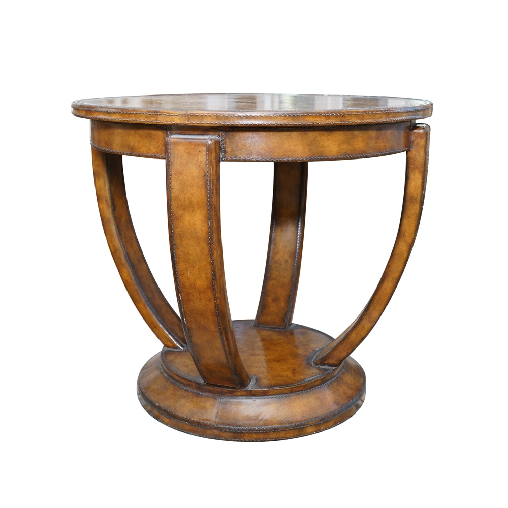 Round Leather Covered Occasional Table