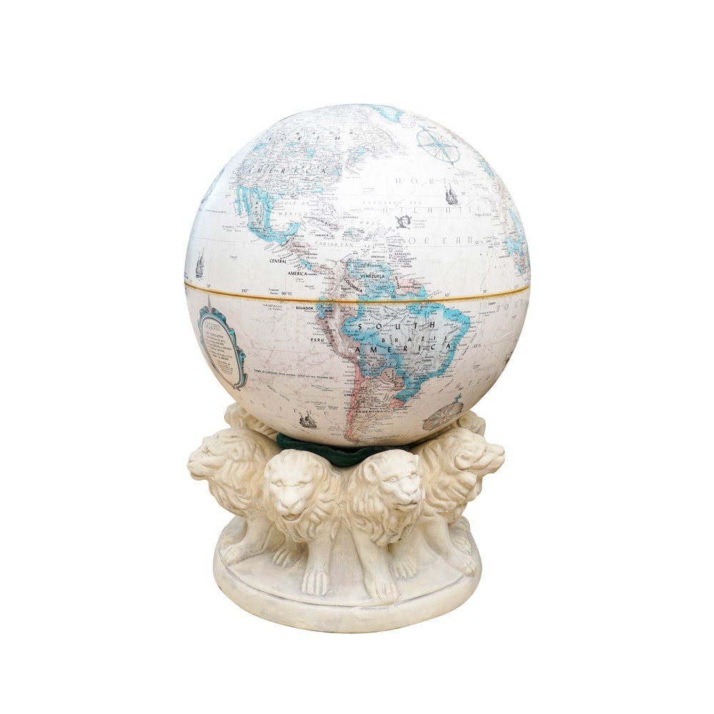 Replogle Globe on Plaster Lion Base