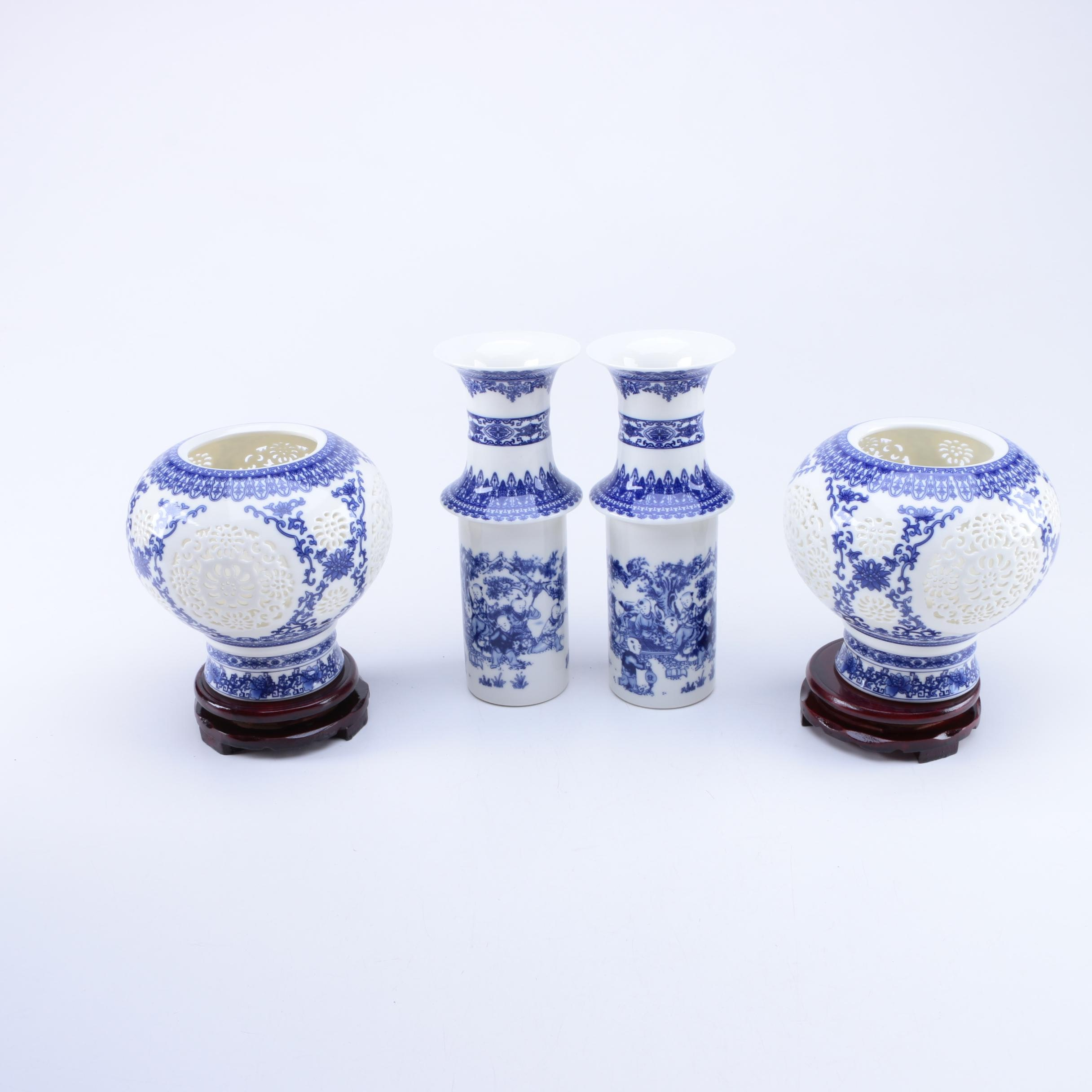 Chinese Blue and White Porcelain Vase Collection