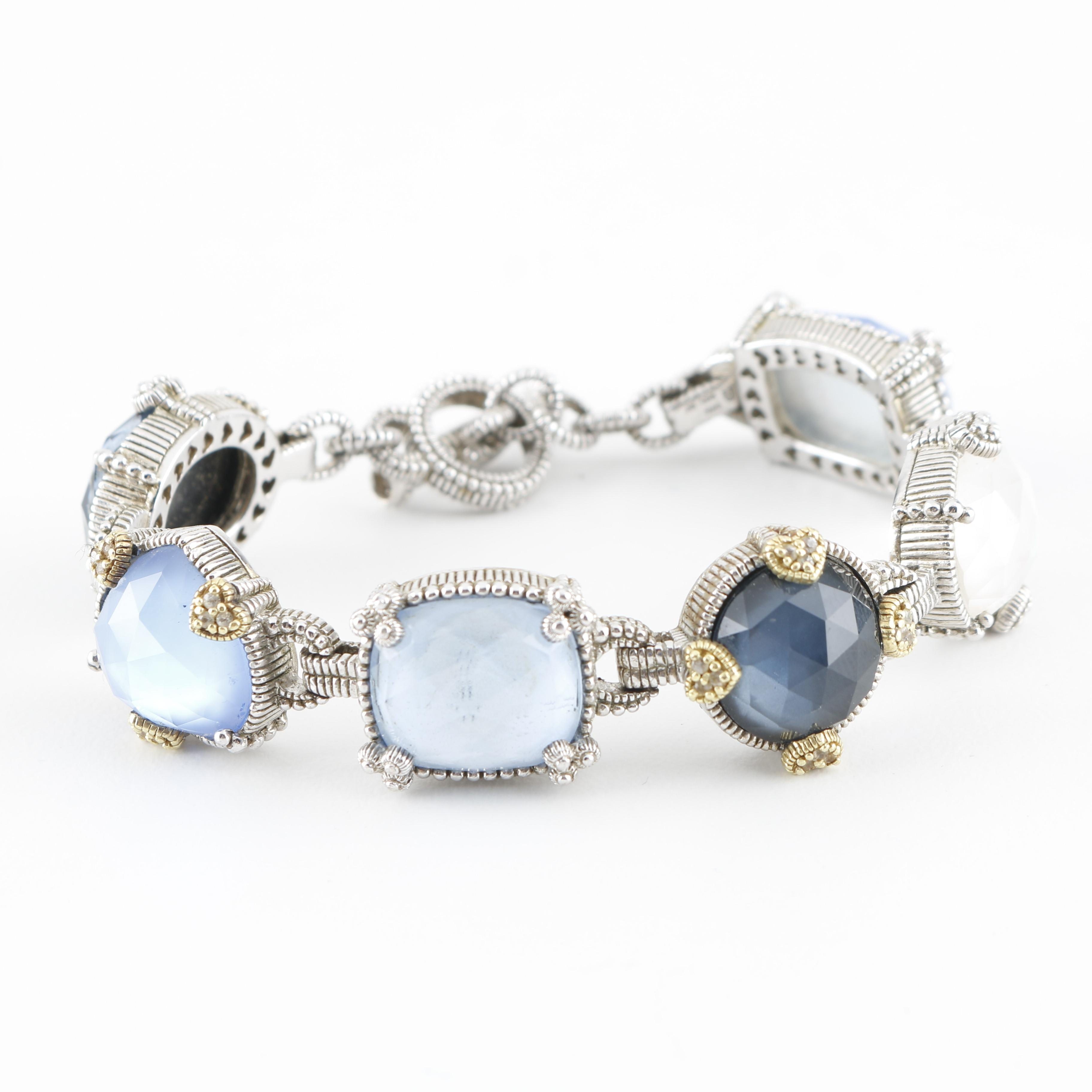 Judith Ripka Sterling Silver Bracelet With 18K Yellow Gold Accents