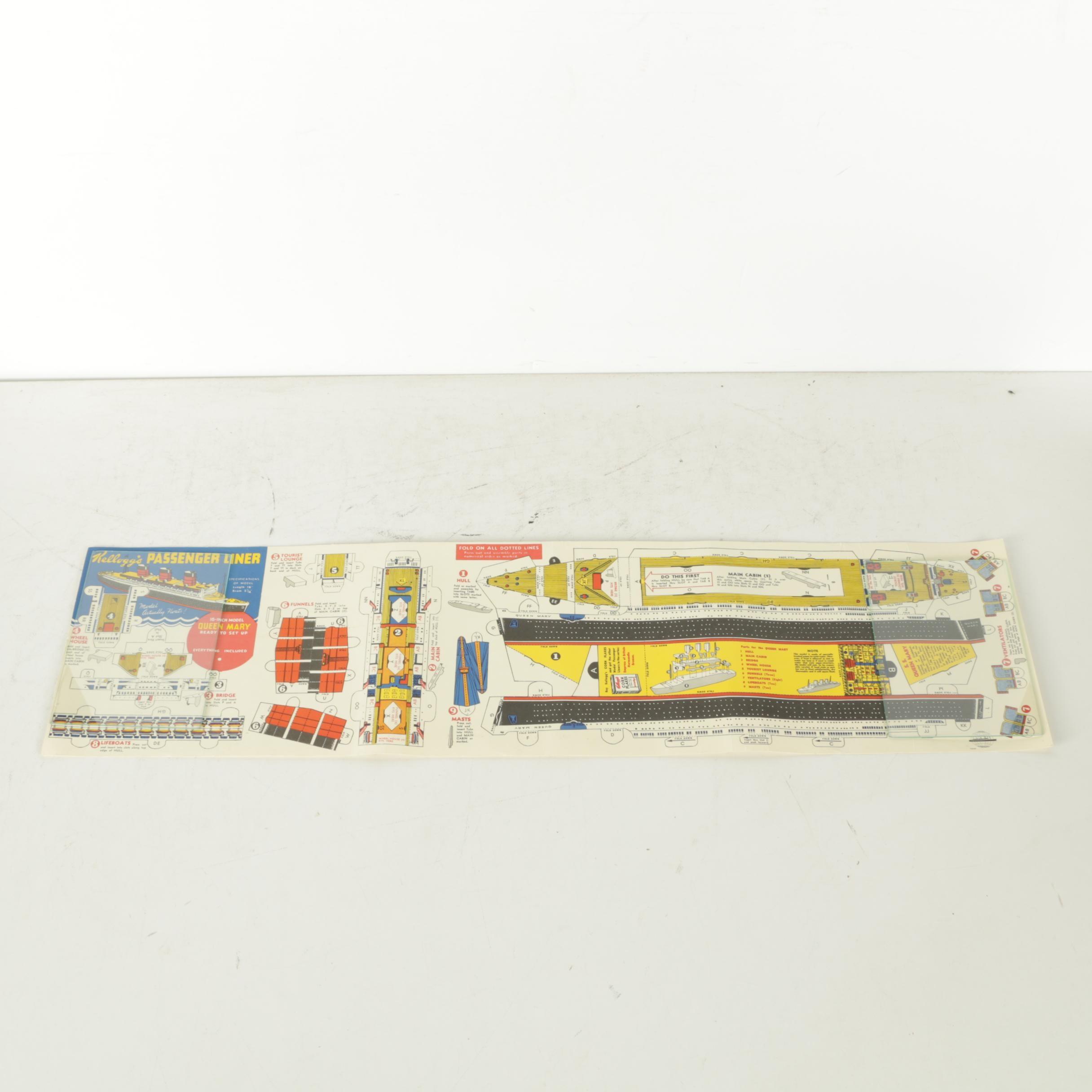 "Kellogg's Mid-Century ""Queen Mary"" Model Passenger Liner Cereal Premium Sheet"