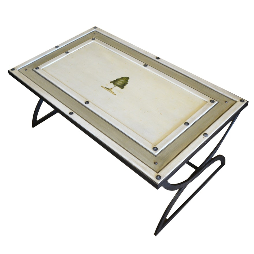 Decorative painted coffee table on metal base ebth - Decorative metal table bases ...