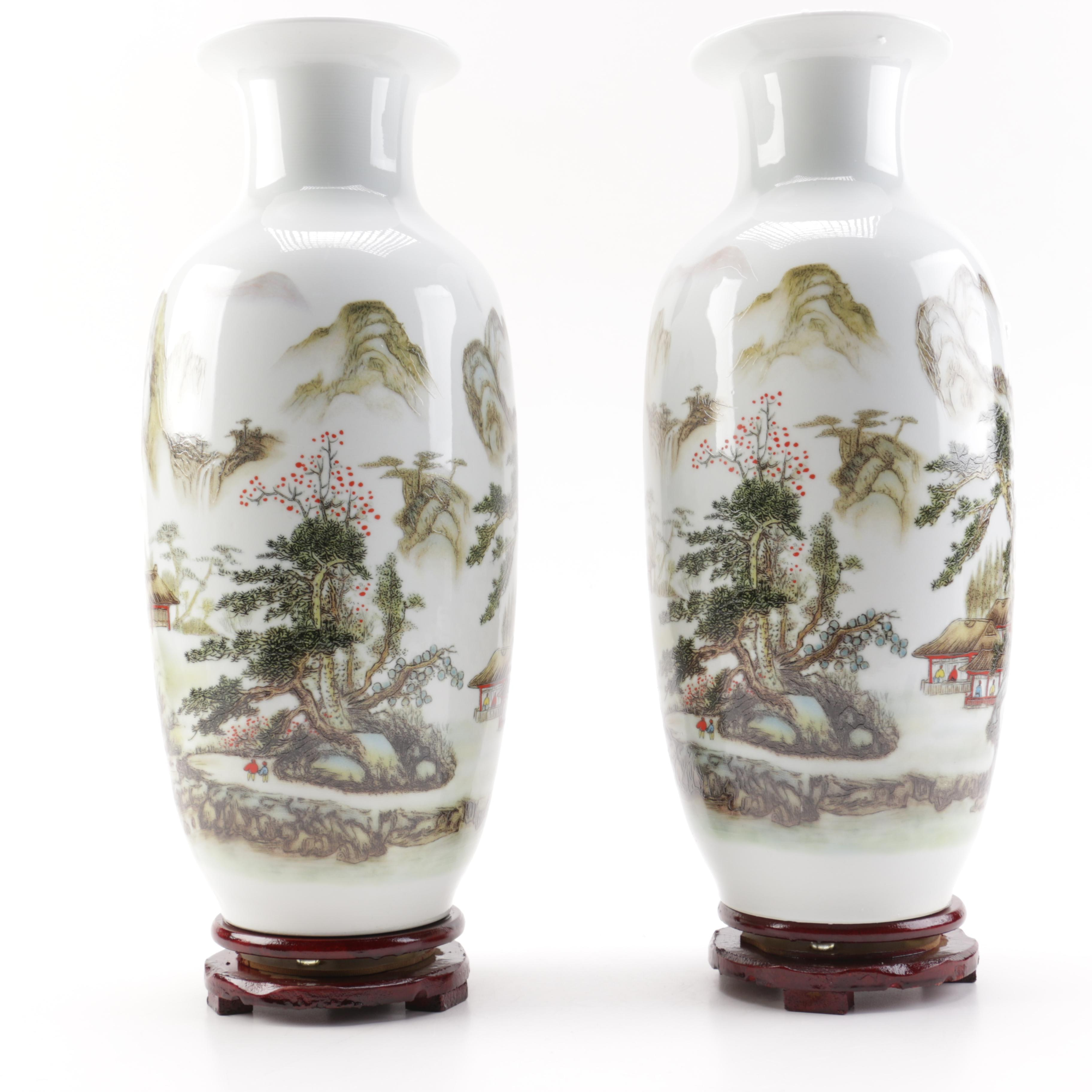 Pair of Asian Inspired Porcelain Vases