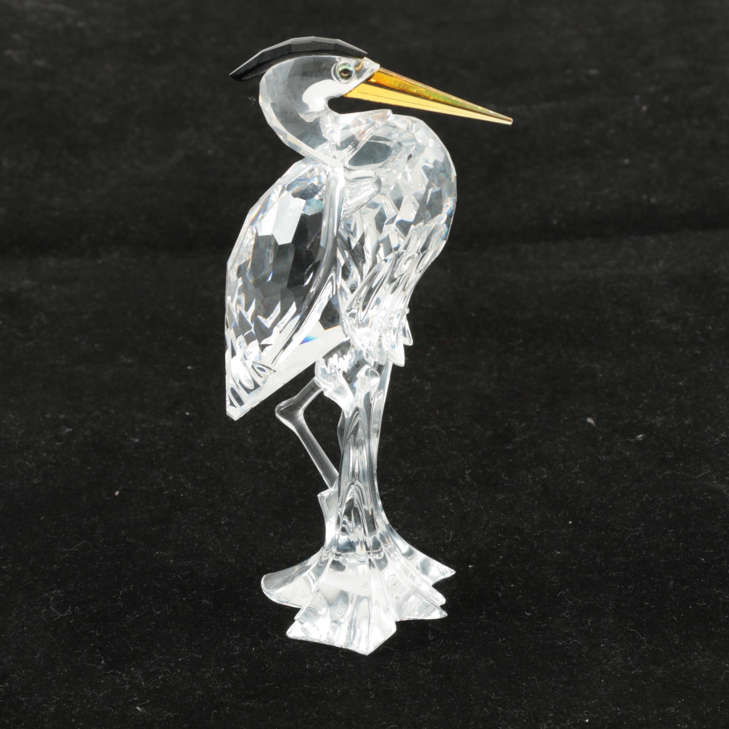 "Swarovski ""Silver Heron"" Crystal Figurine"