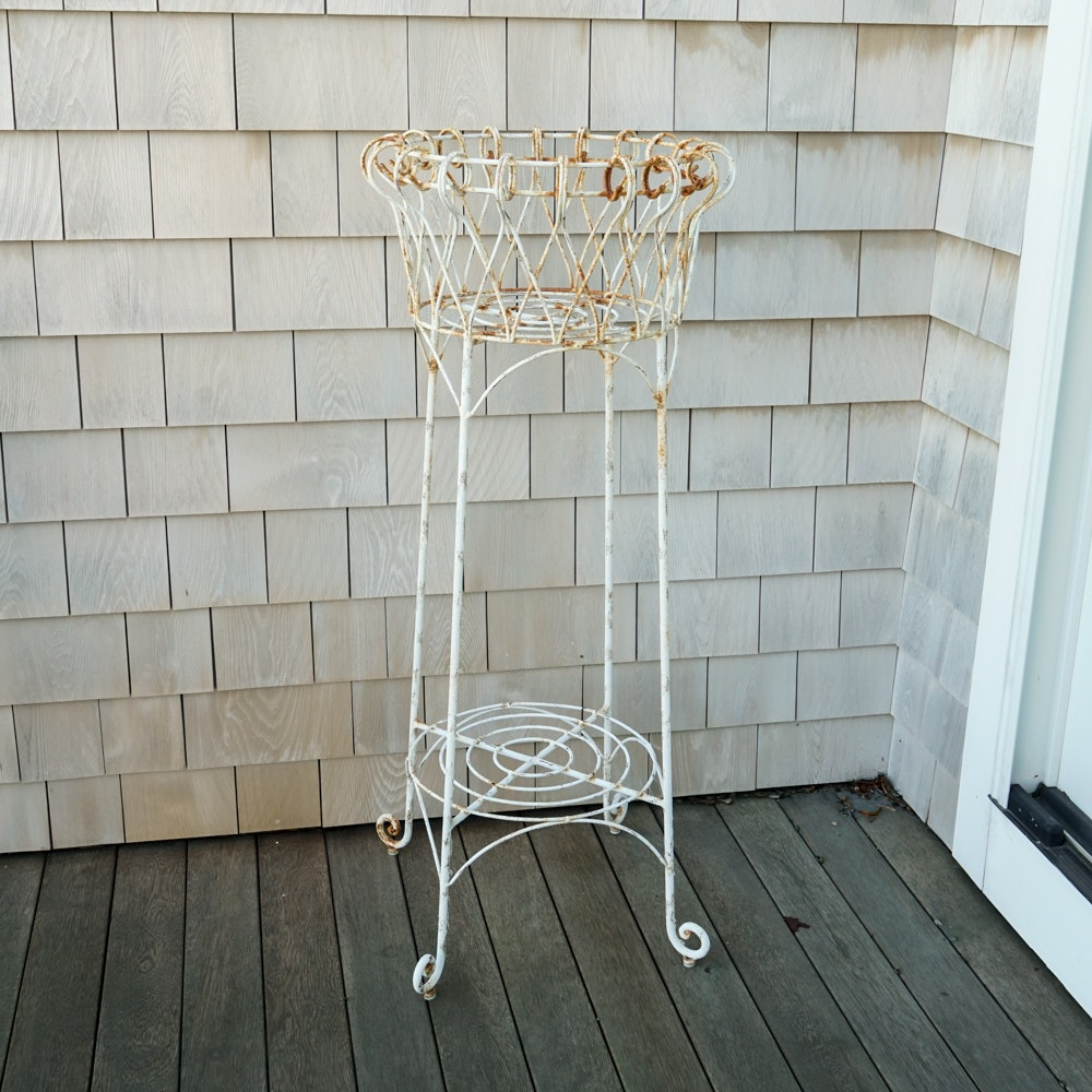 White Wrought Iron Planter
