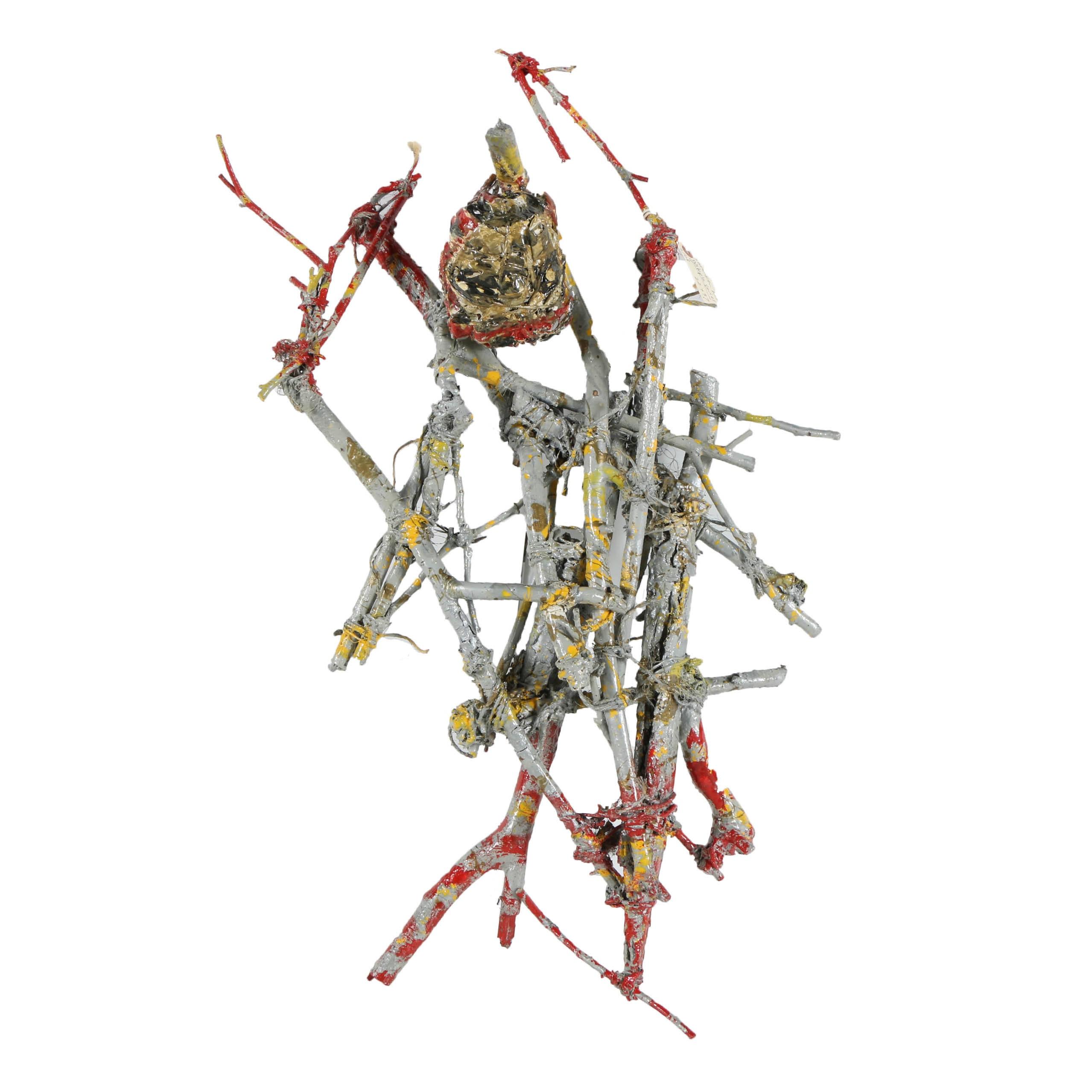"Frank Kowing Mixed Media Sculpture ""Shrunken Head"""