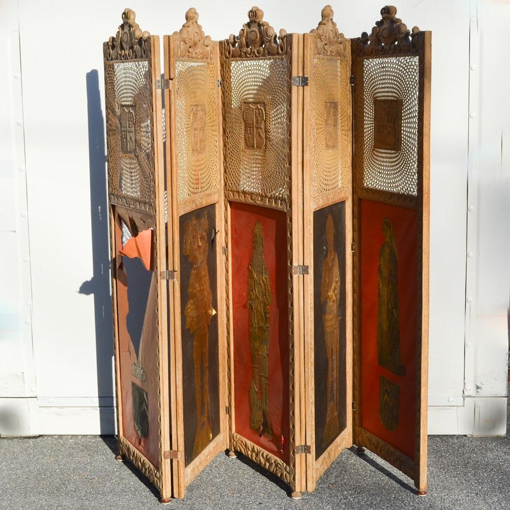 Carved Italian Oak Five Panel Screen