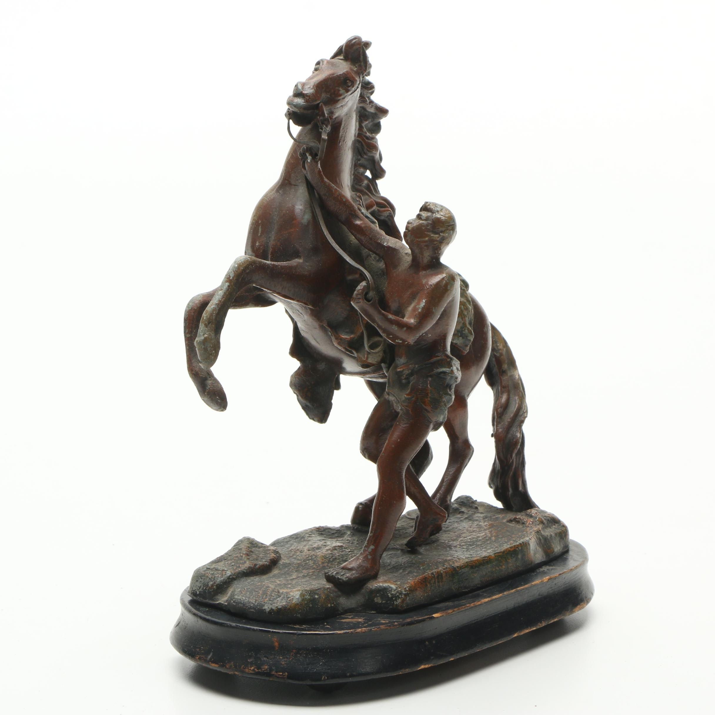"""Spelter Sculpture after After Guillaume Coustou """"Marly Horse"""""""