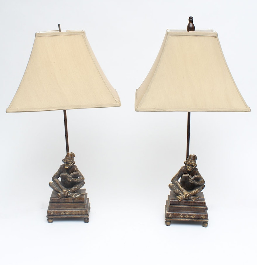 Pair of seated monkey table lamps ebth pair of seated monkey table lamps geotapseo Gallery