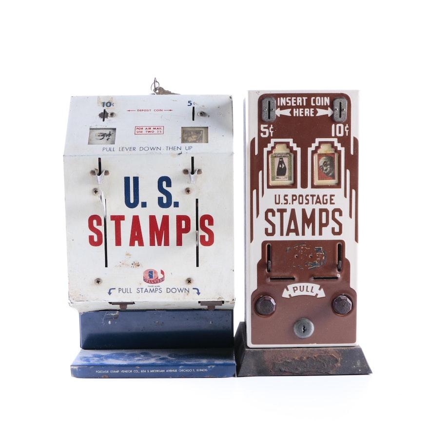 Vintage Metal US Stamp Dispensers