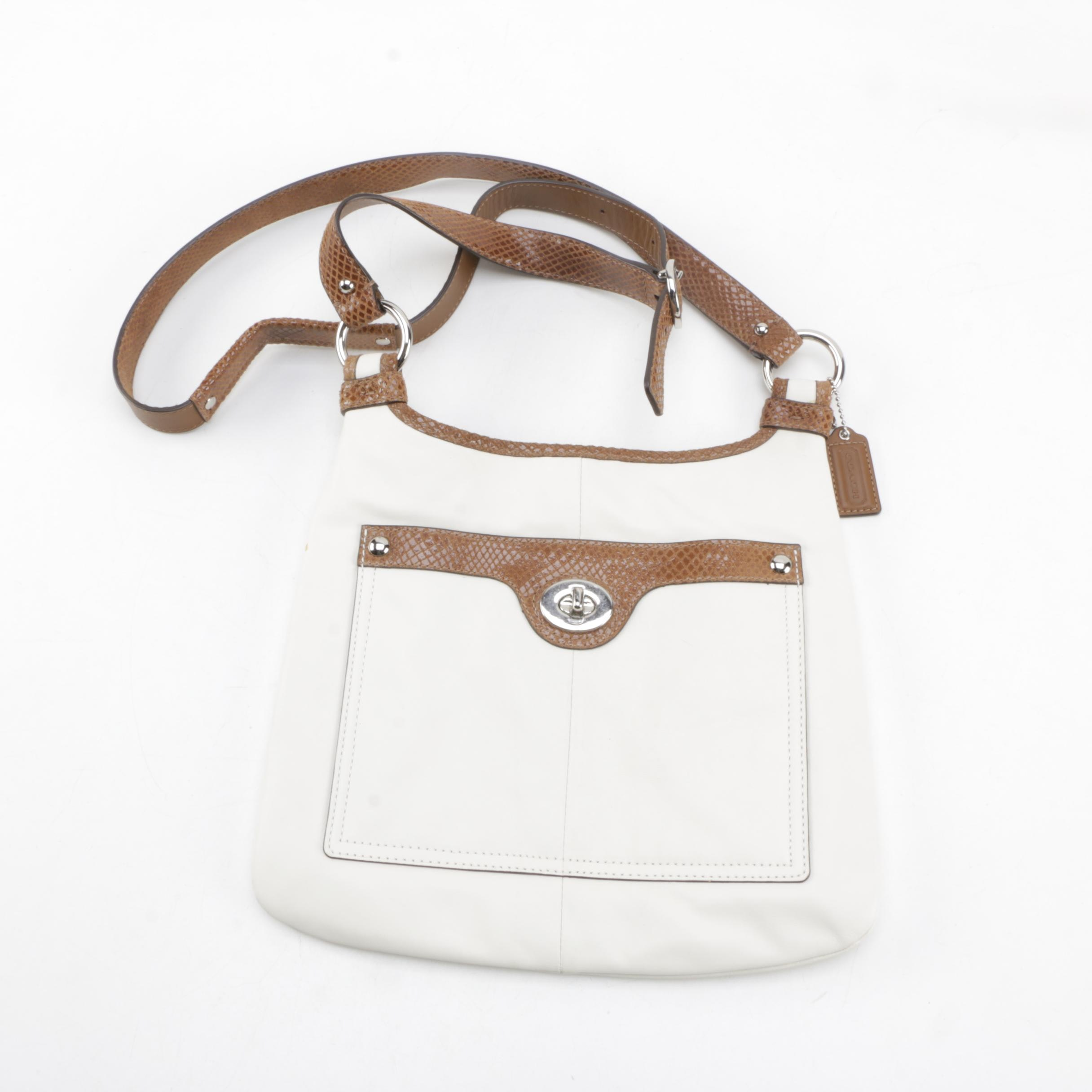 Coach Brown and Cream Leather Crossbody