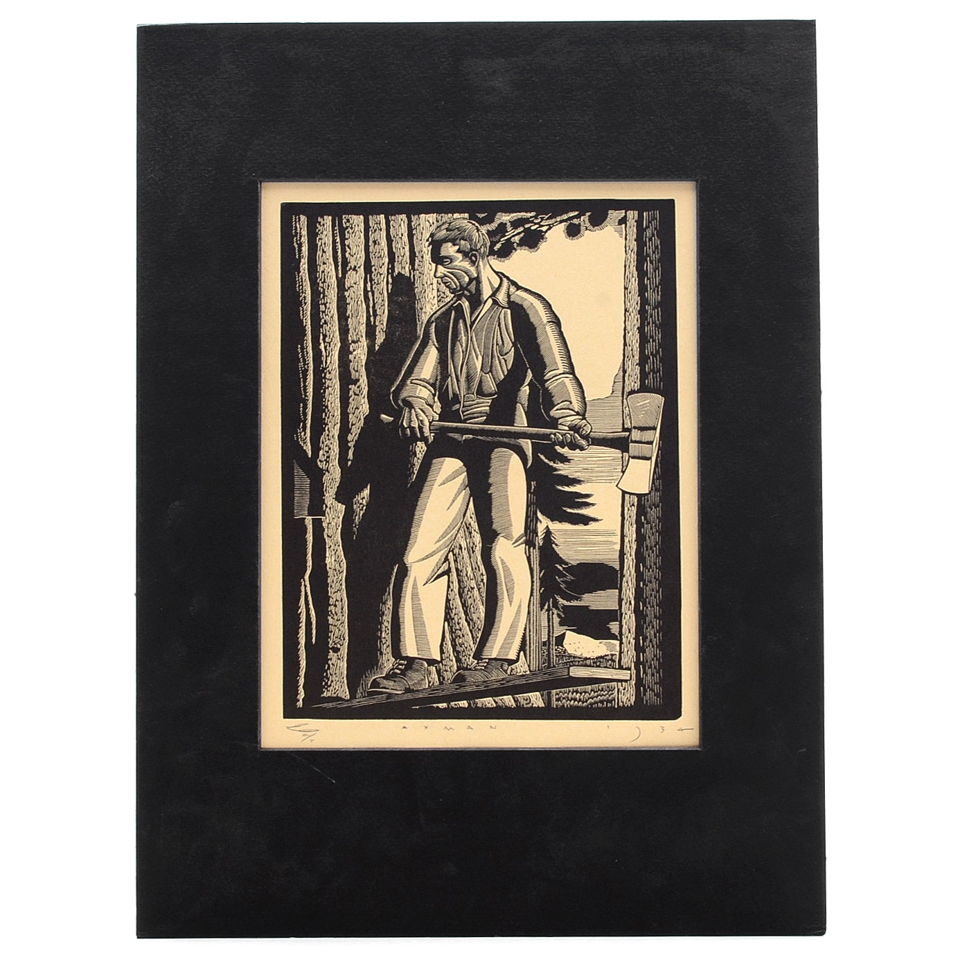 E. M. Washington Woodblock on Paper after Rockwell Kent