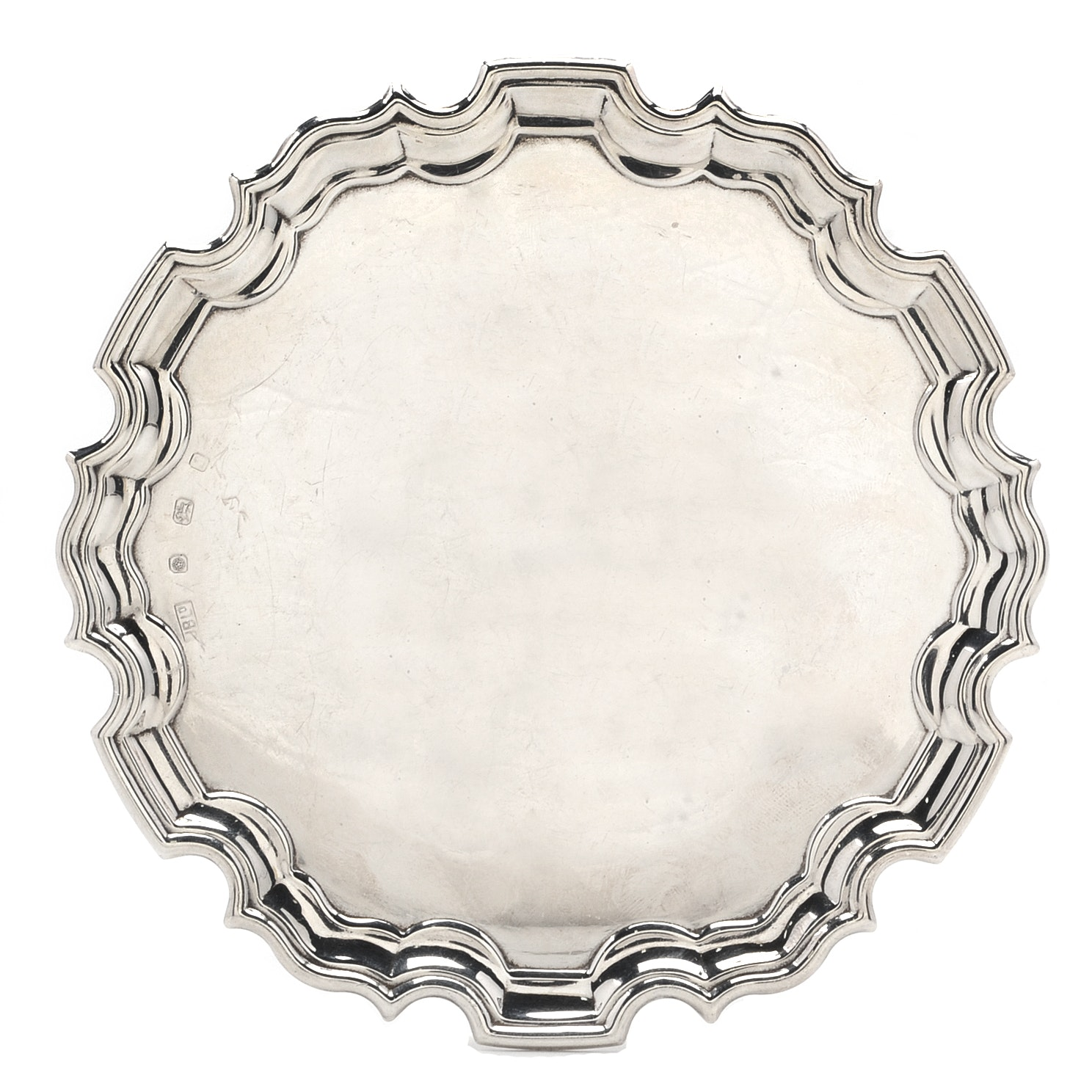 Sterling Silver Small Round Tray with Reticulated Edge