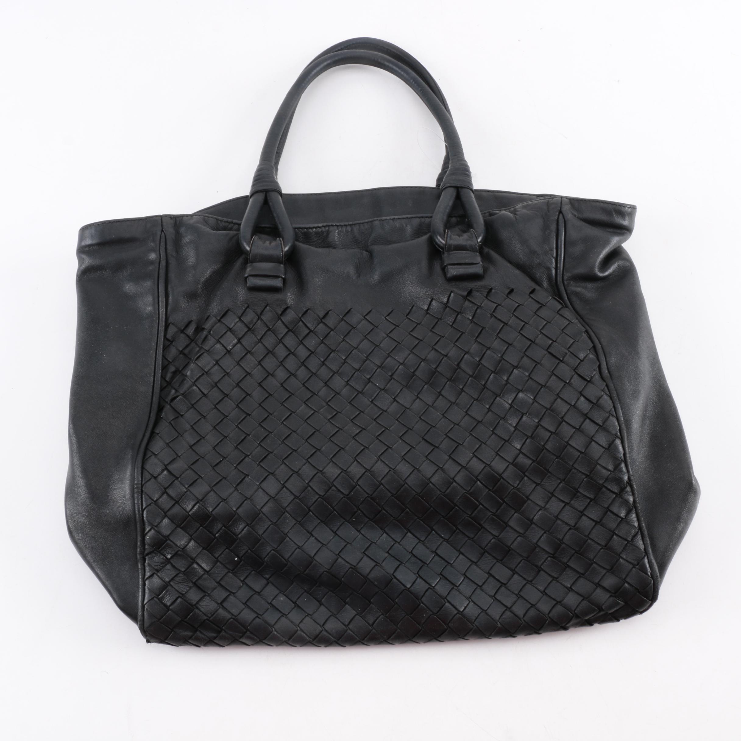 Bottega Veneta Black Woven Leather Tote Handbag