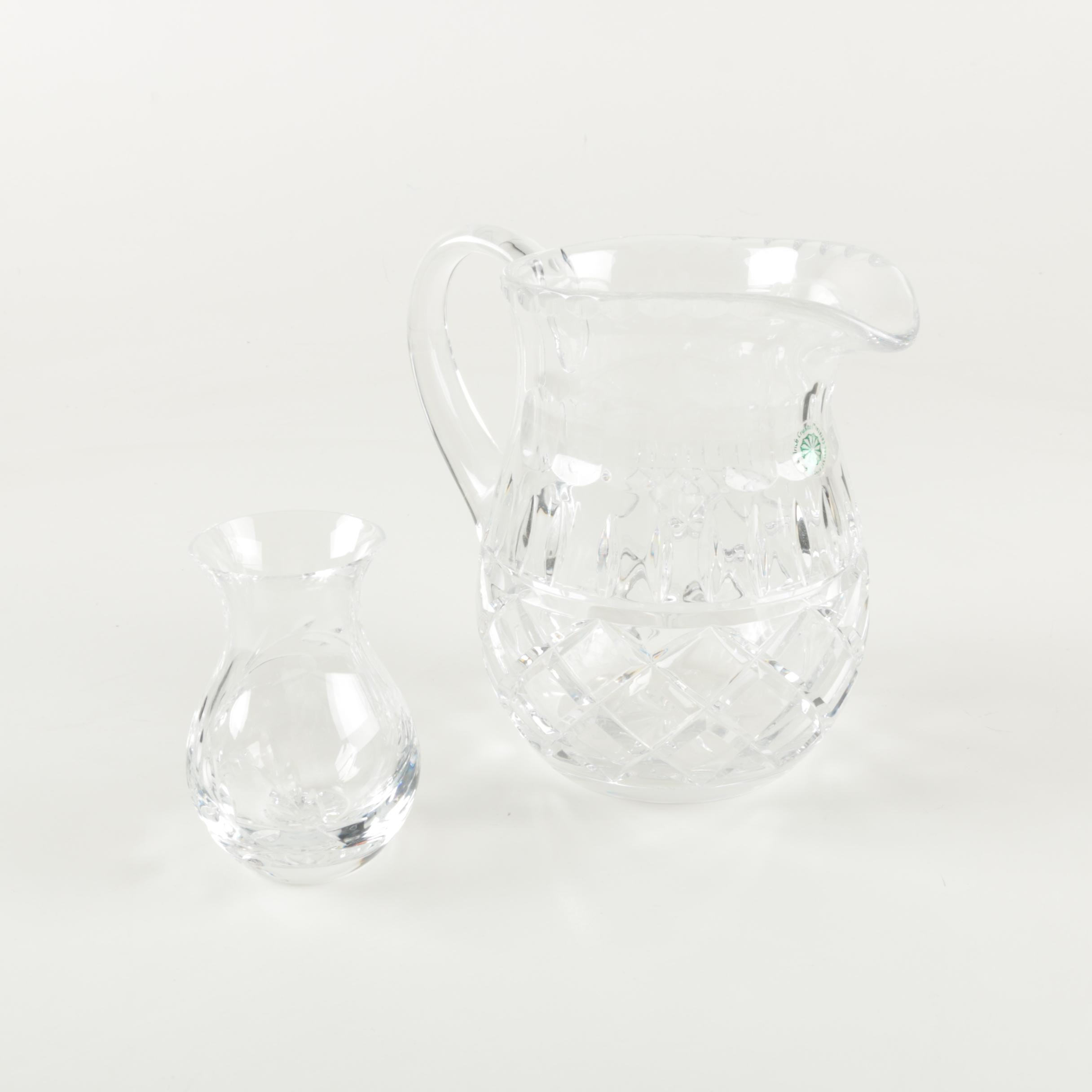 Galway Crystal Pitcher and Stuart Crystal Vase