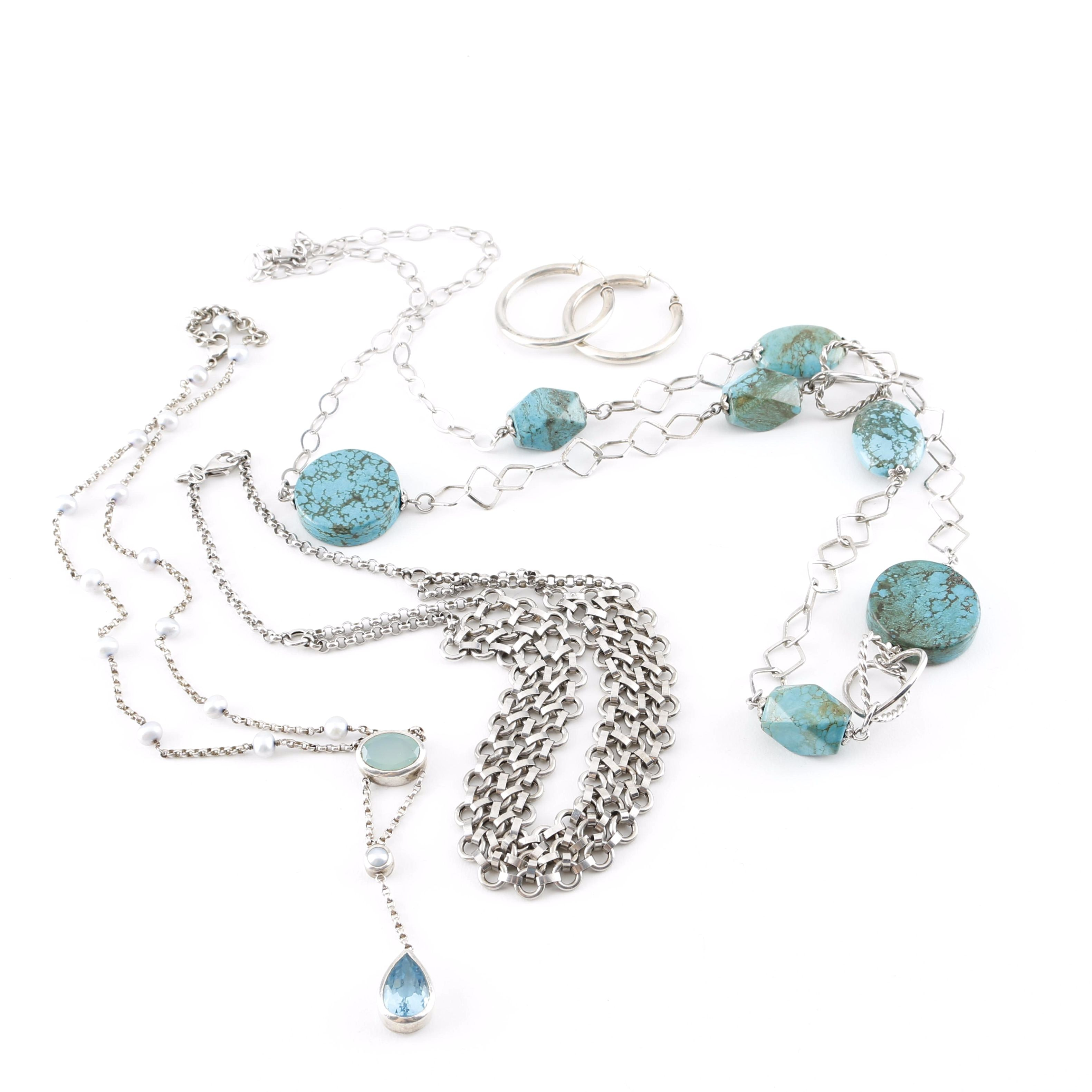 Sterling Silver Necklaces and Earrings Including Turquoise