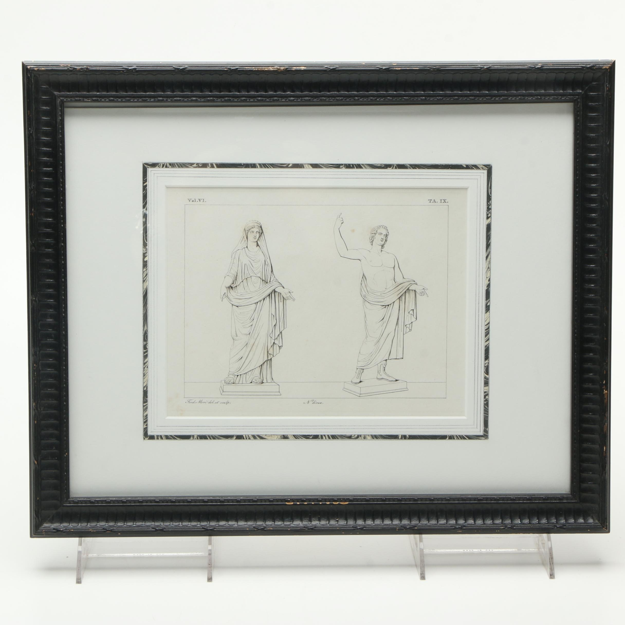 Planographic Print on Paper of Classical Statues