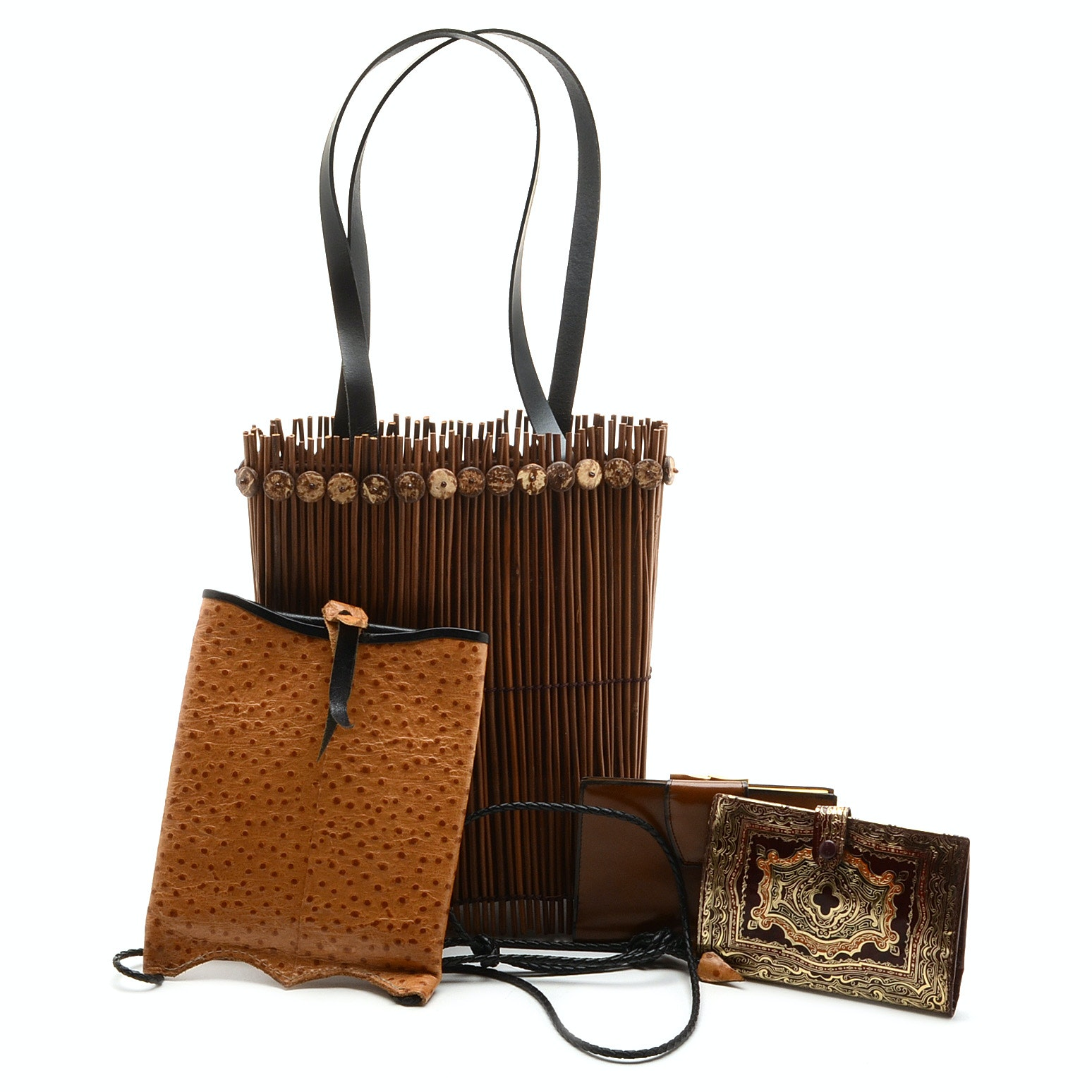 Collection of Vintage Handbags and Wallets including an Ostrich Cross-body
