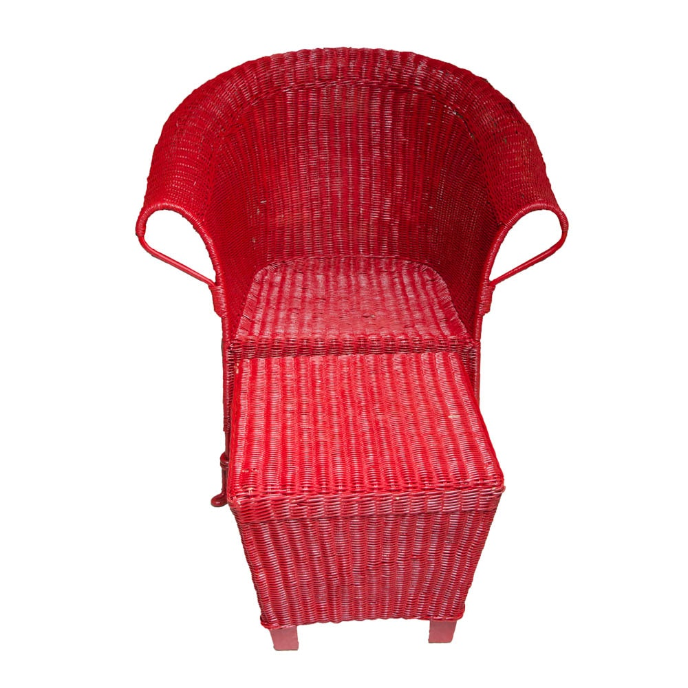 Red Wicker Chair and Ottoman